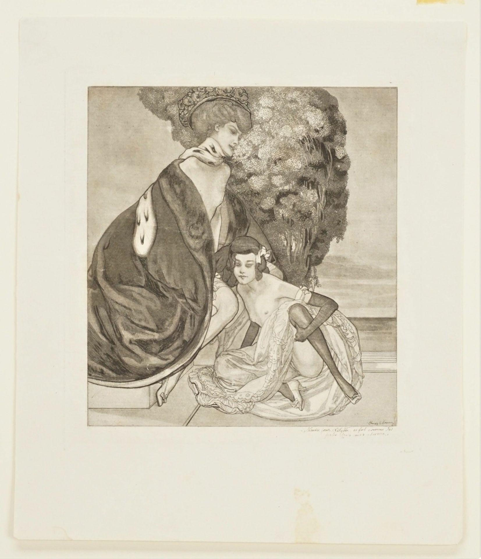 """Franz von Bayros, """" L'autre jour, Lilytte, ce fut comme des perles dans mes cheveux"""" (Eines ... - Bild 3 aus 3"""