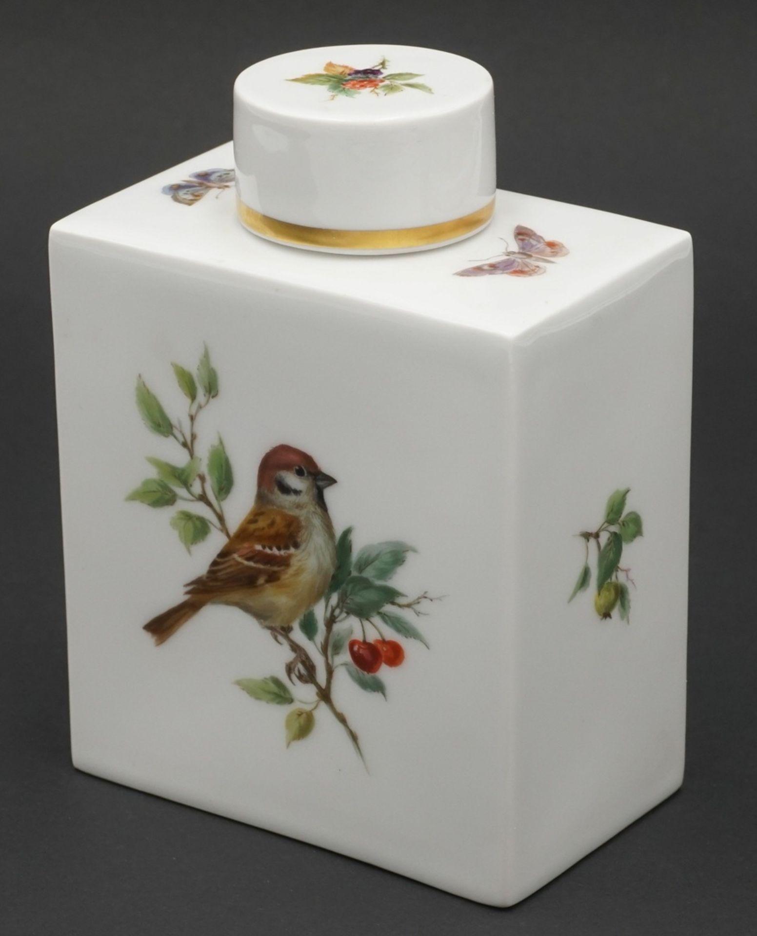 Meissen Teedose mit Vogelmalerei - Bild 2 aus 4