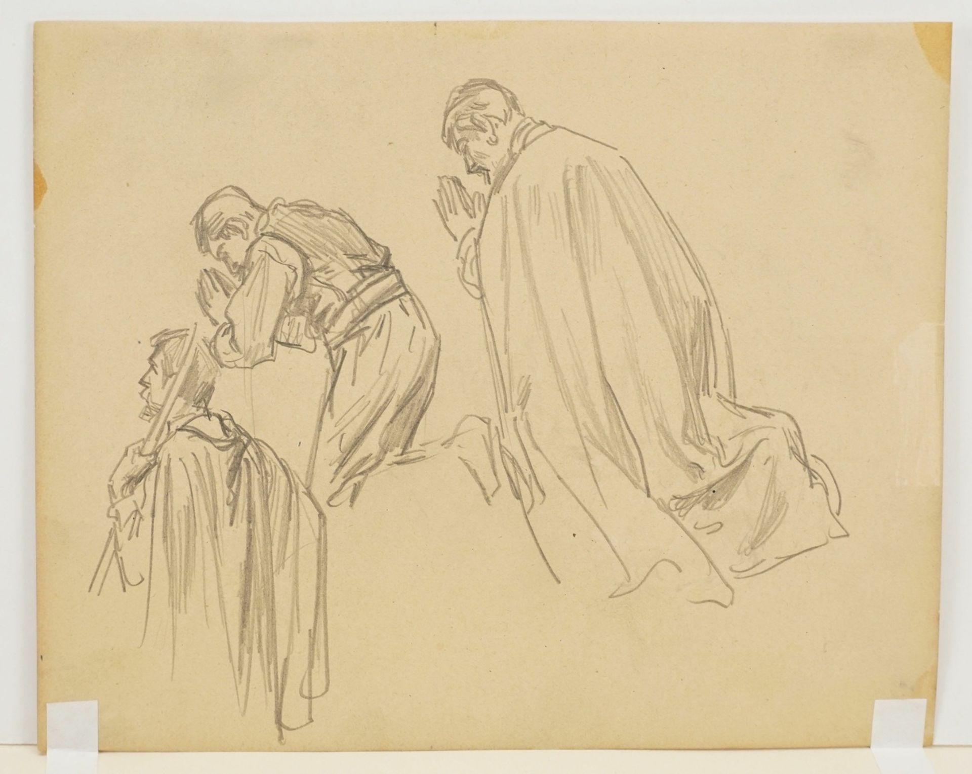Unbekannter Zeichner, Zwei männliche Figurenstudien - Bild 4 aus 4