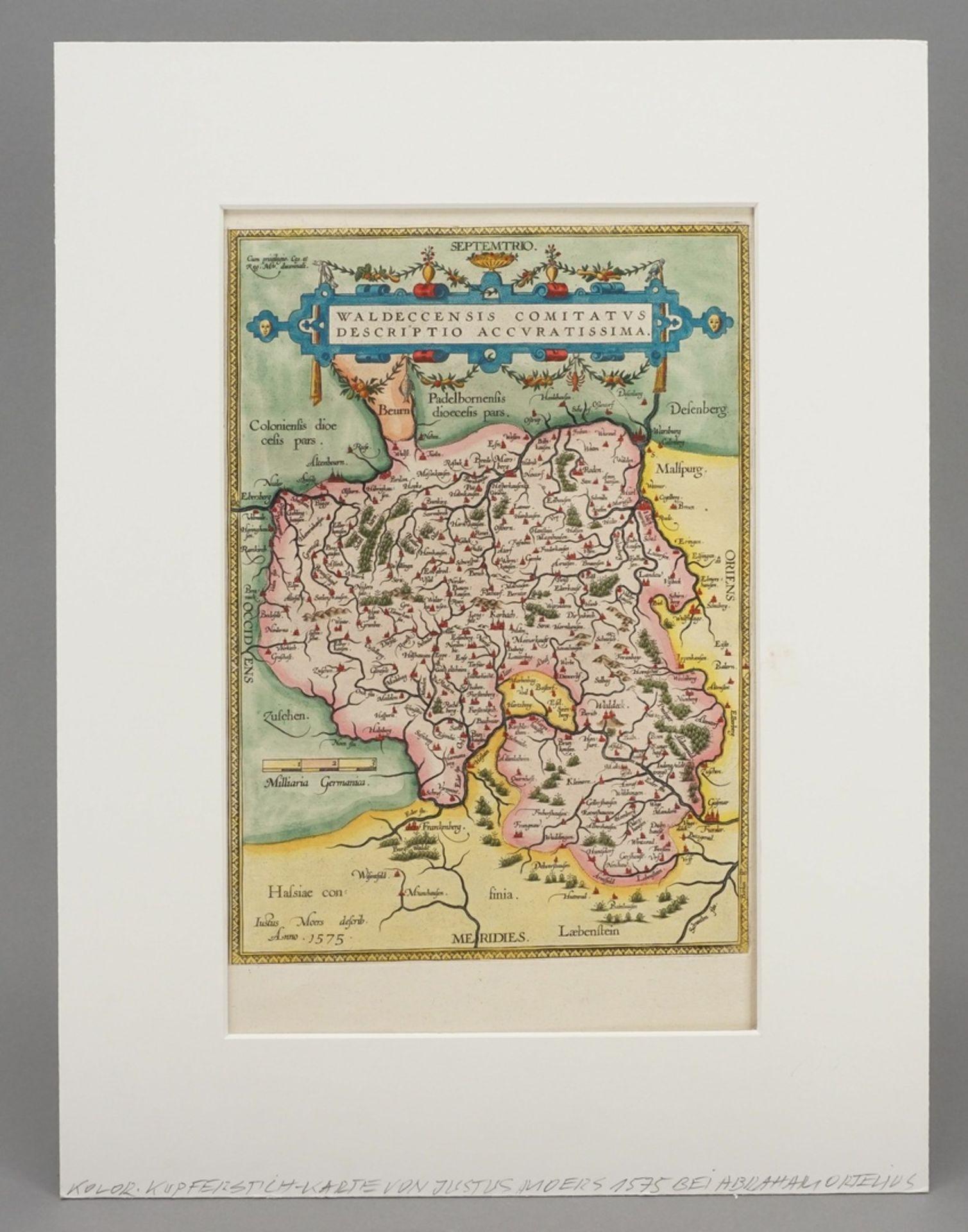"""Abraham Ortelius, """"Waldeccensis Comitatus Descriptio Accuratissima"""" (Landkarte des Fürstentums ... - Bild 2 aus 3"""