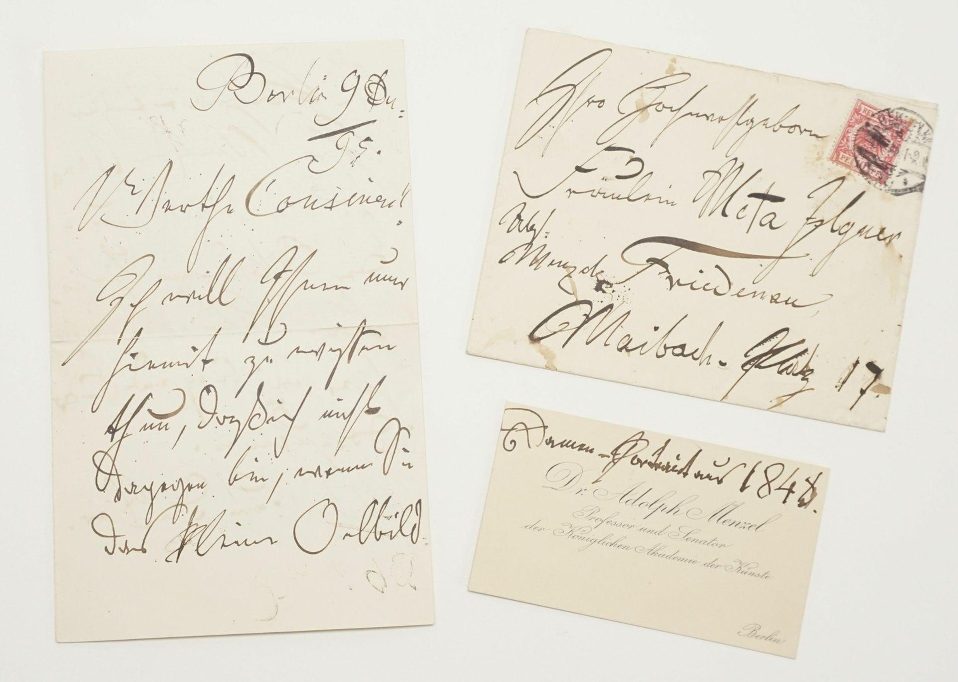 Adolf von Menzel, Autograph (handschriftlicher Brief inkl. Kuvert)