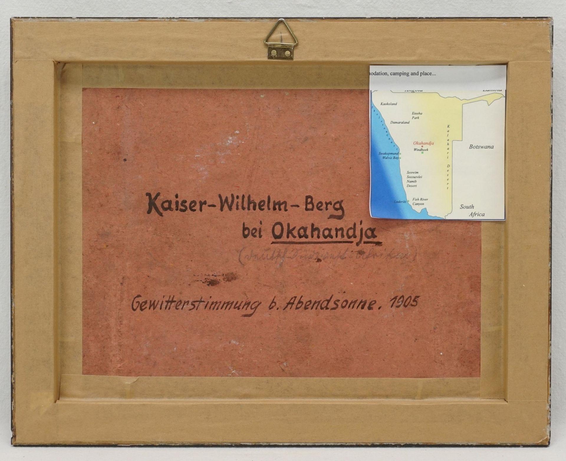 """C. Weber, """"Kaiser Wilhelm Berg bei Okahandja. Gewitterstimmung bei Abendsonne"""" - Bild 3 aus 4"""