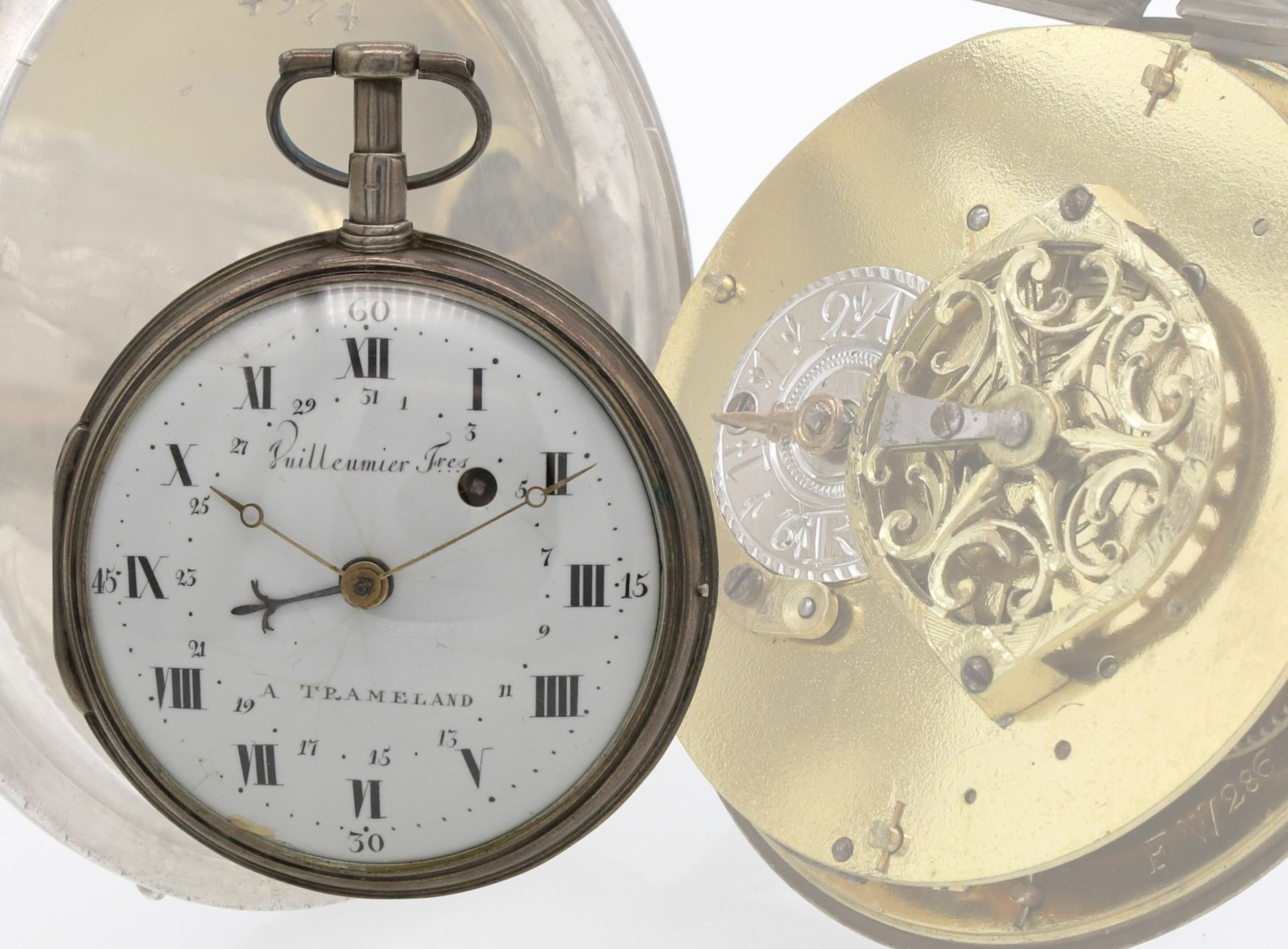 Vuilleumier Fres silberne Spindeltaschenuhr mit Datumsanzeige, um 1830