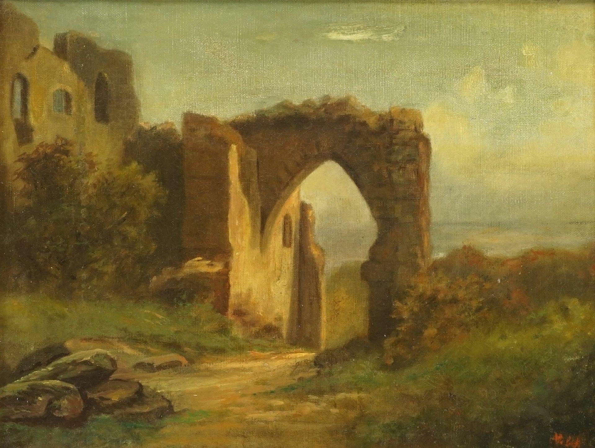 """Unbekannter Spätromantiker, """"Ruine mit Spitzbogentor"""" - Bild 2 aus 4"""