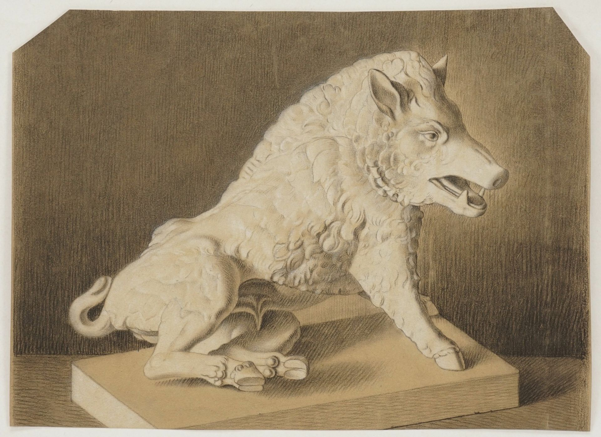 Fritz von Uhde, Studienblatt mit dem antiker Eber-Skulptur