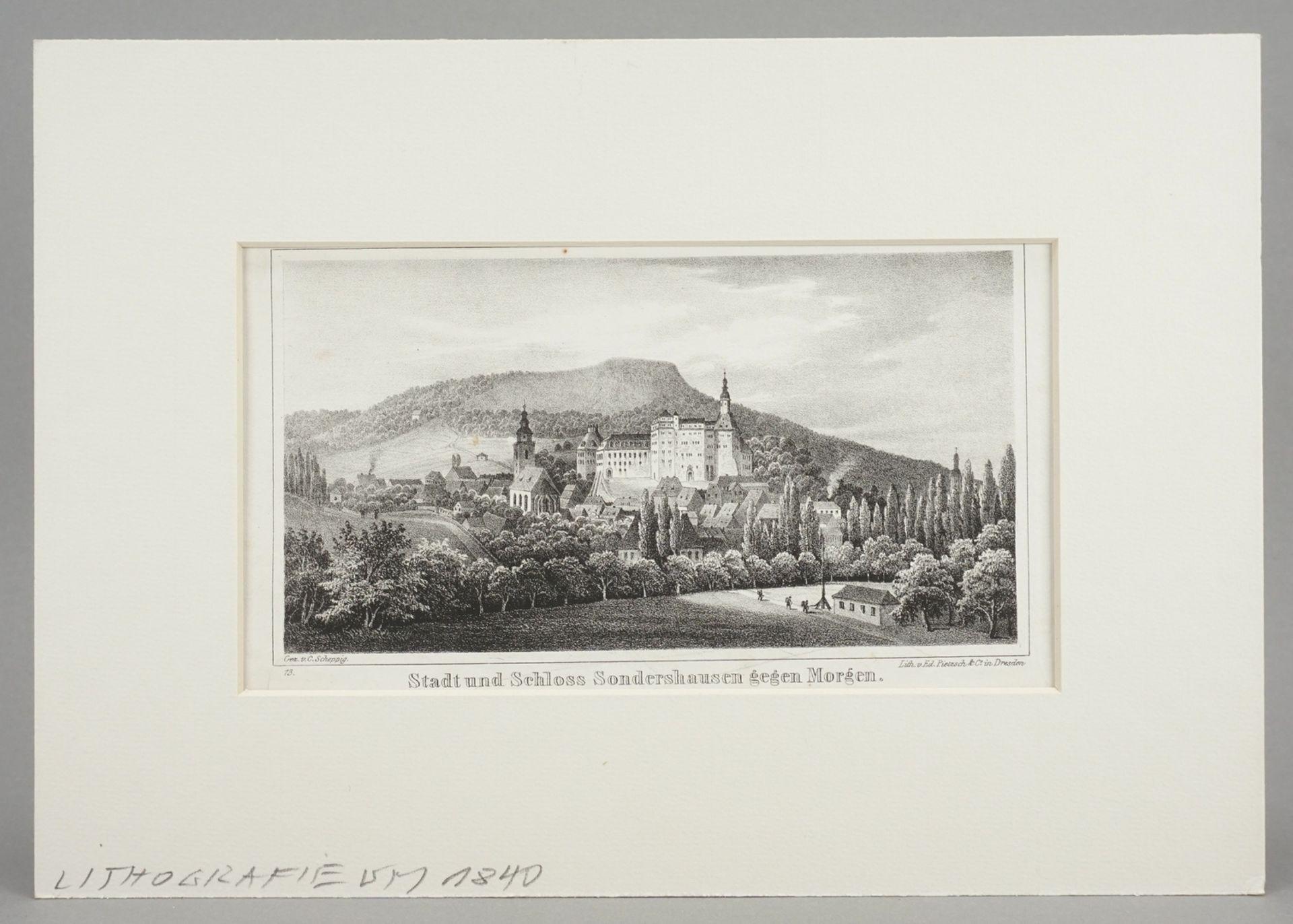 Stadt und Schloss Sondershausen gegen Morgen - Bild 2 aus 3