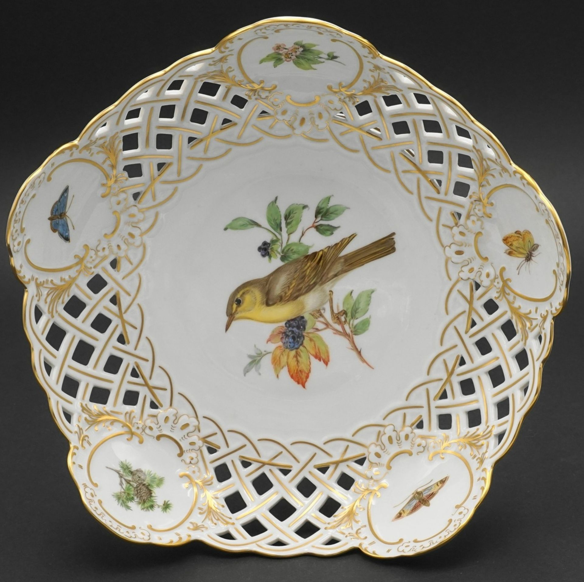 Meissen Aufsatzschale mit Vogelmalerei - Bild 2 aus 3