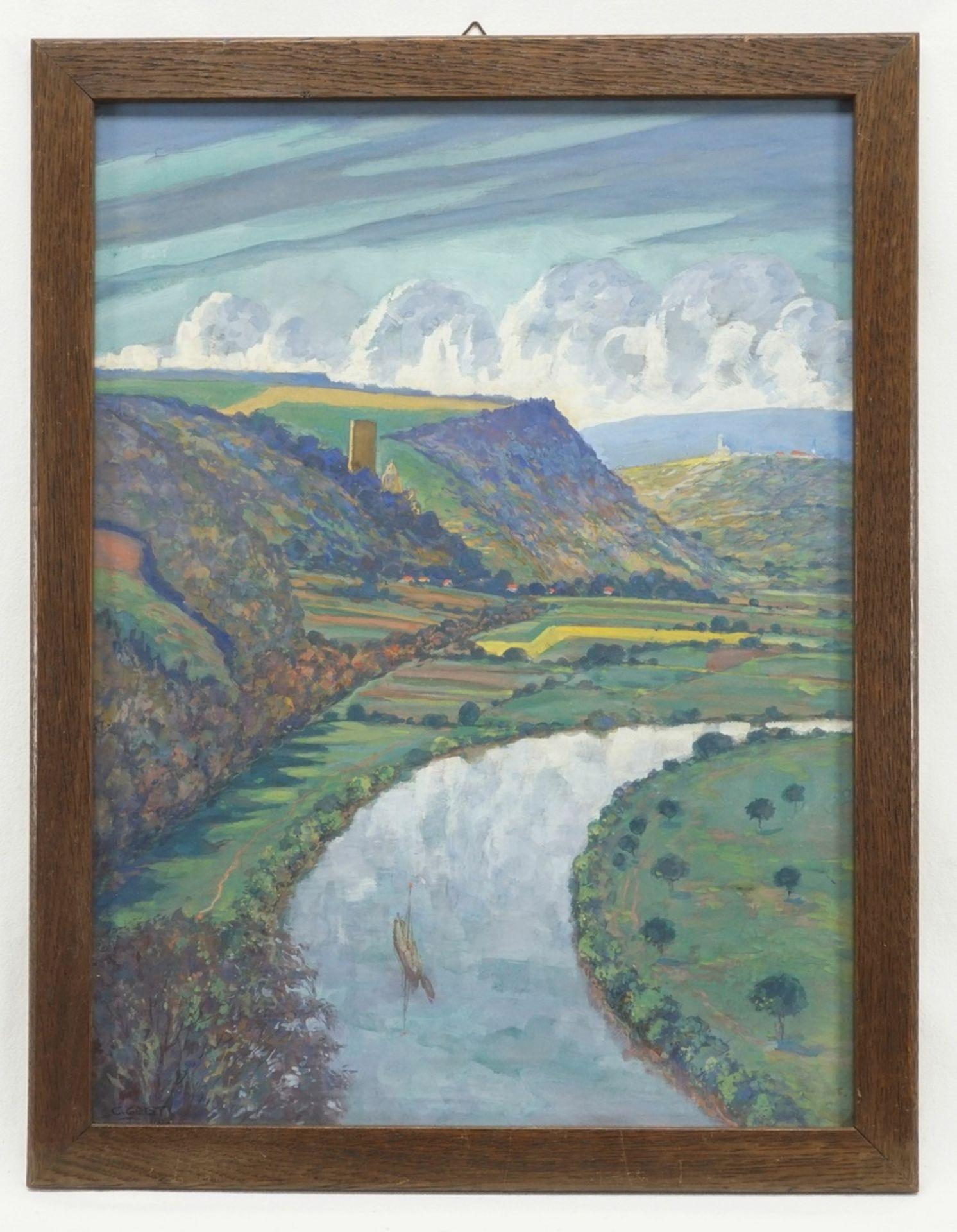 Carl Wilhelm Geist, Flusslauf mit Burgenlandschaft - Bild 2 aus 4
