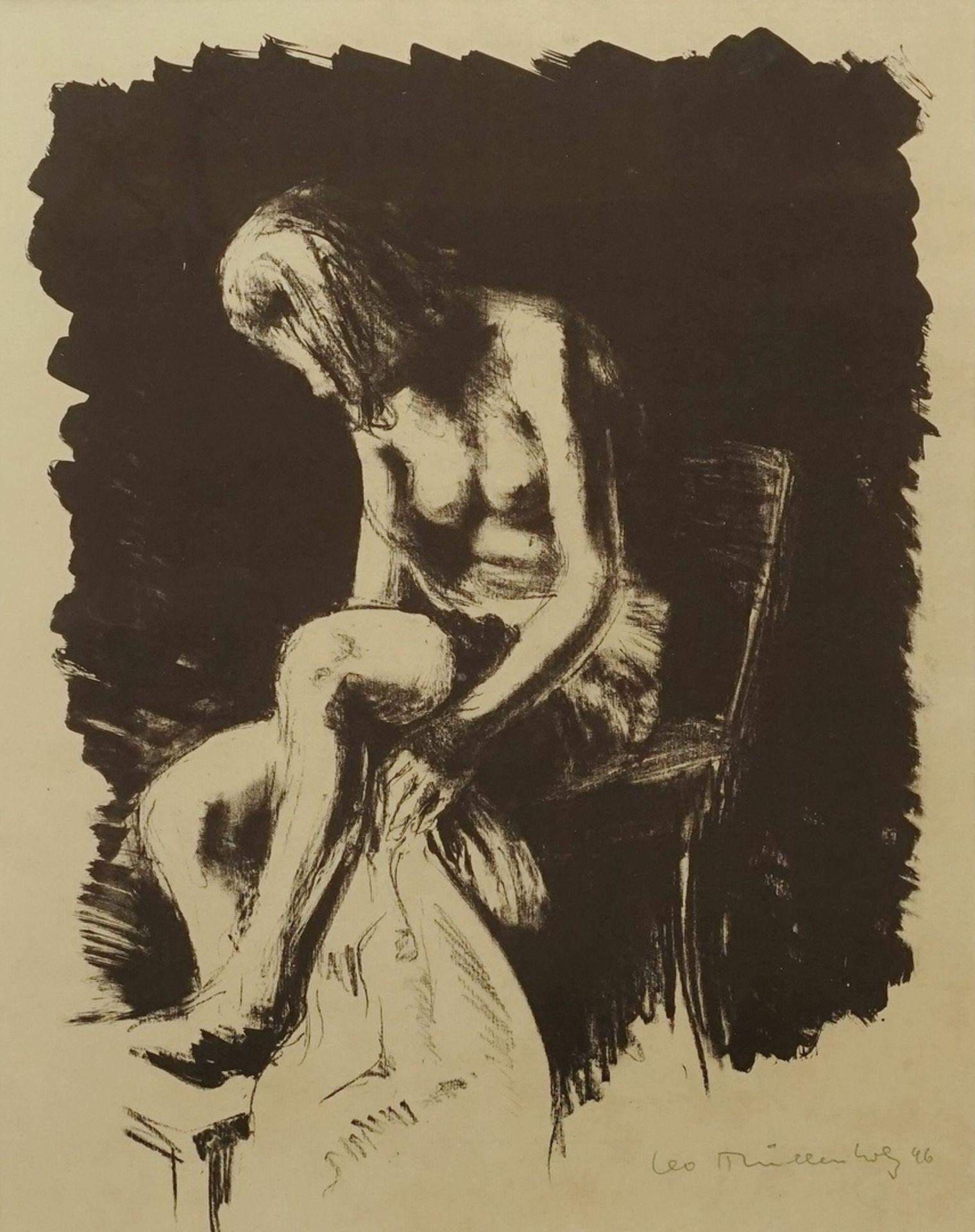 Leo Mühlenholz, Sitzender weiblicher Akt, sich die Beine trocknend