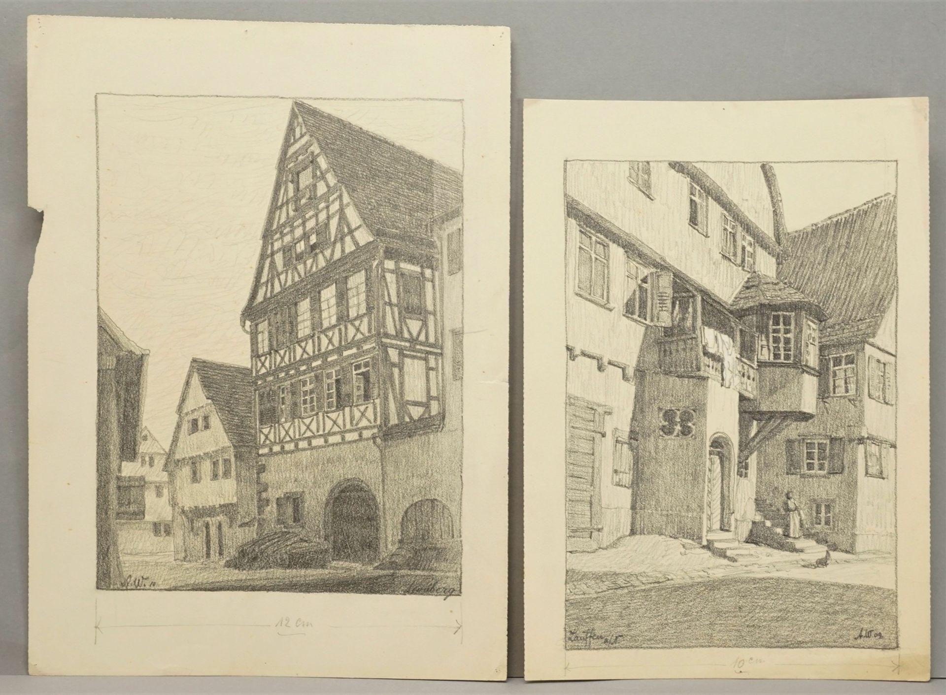 Sechs Handzeichnungen zu fränkischen Orten - Bild 4 aus 4