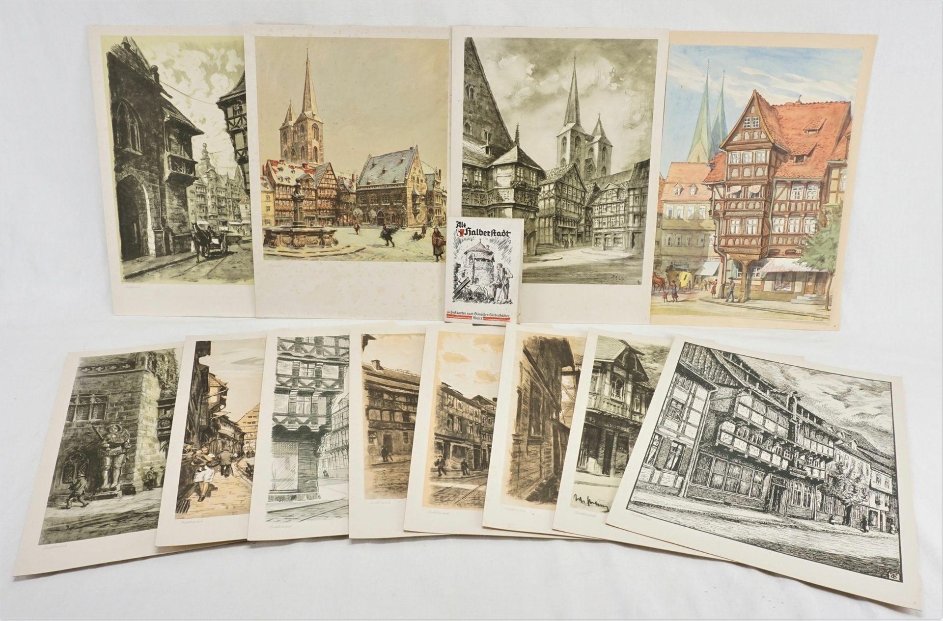 Kunstdruckmappe und Postkarten, Halberstadt am Harz