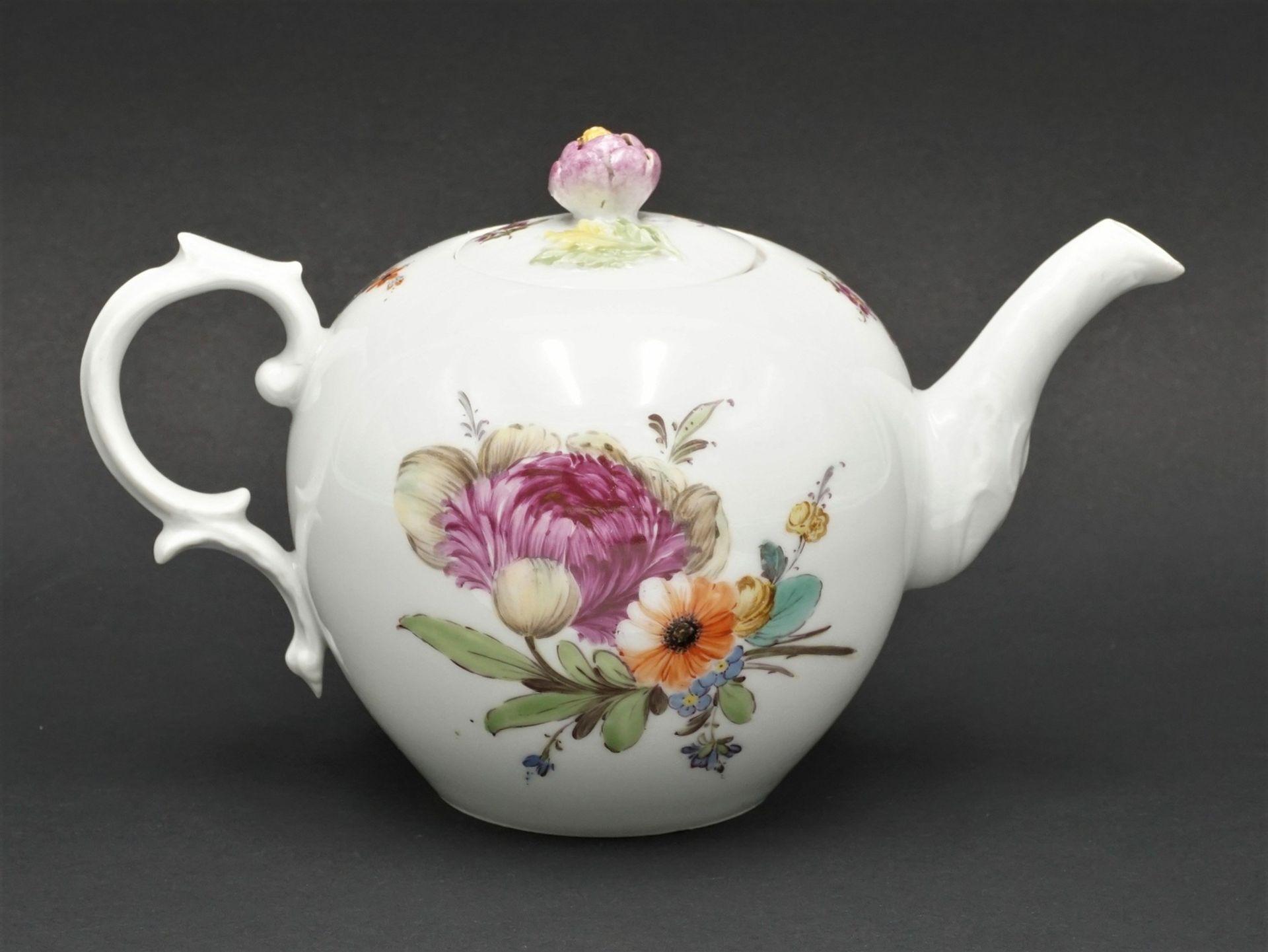 Fürstenberg Teekanne mit Blumenmalerei