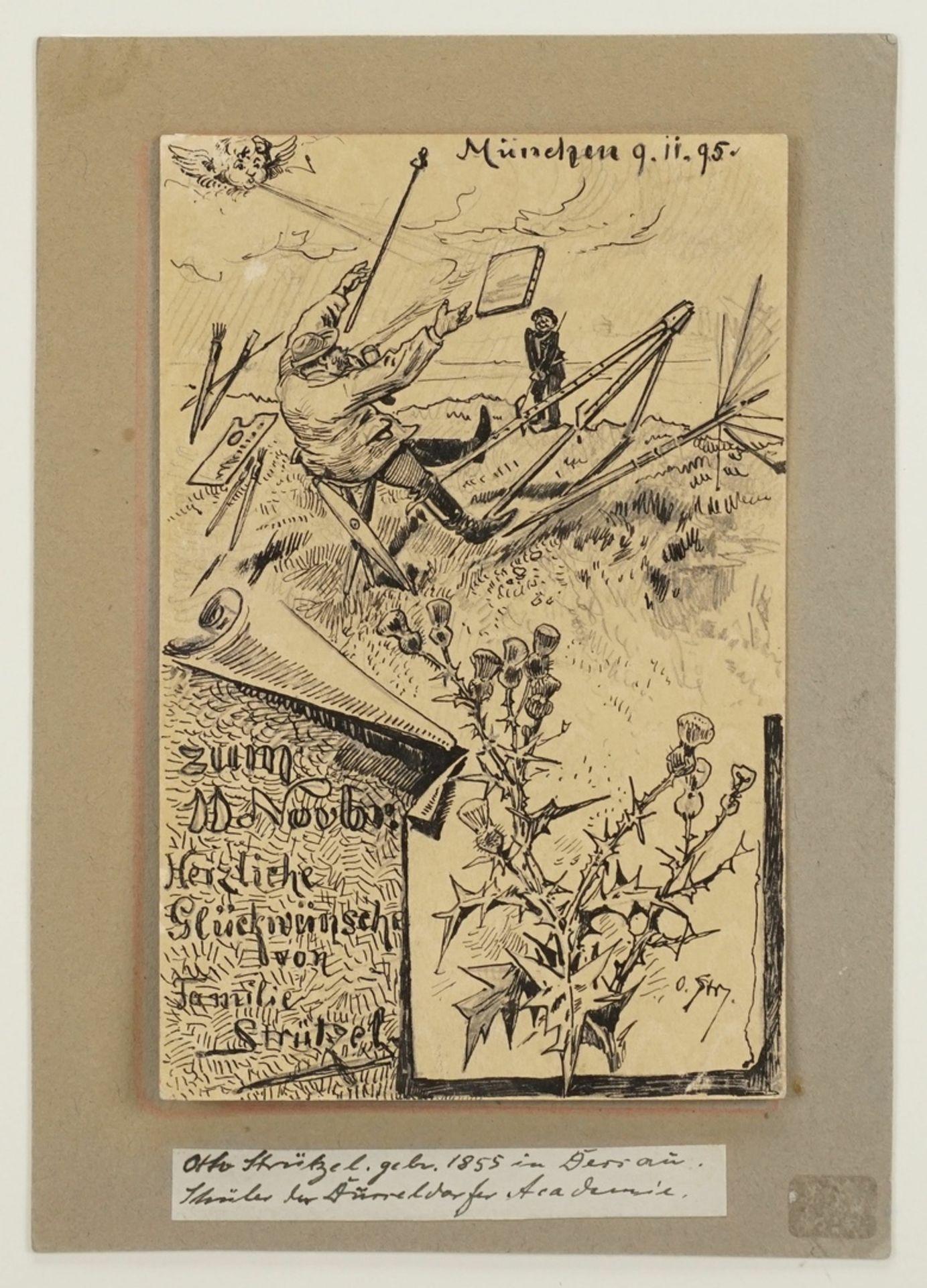Leopold Otto Strützel, Glückwunschkarte - Bild 3 aus 4