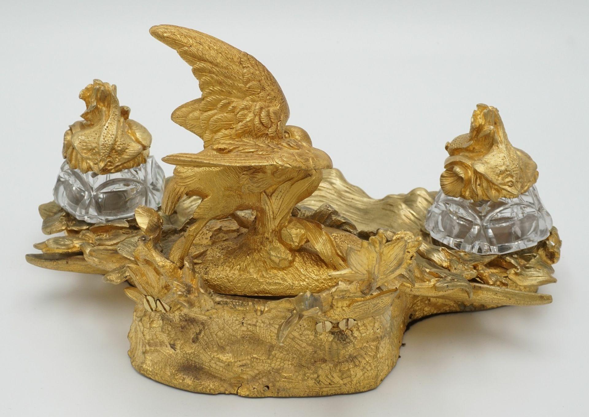 Üppiges Schreibtischset mit Wasservogel und Fischen - Bild 3 aus 5