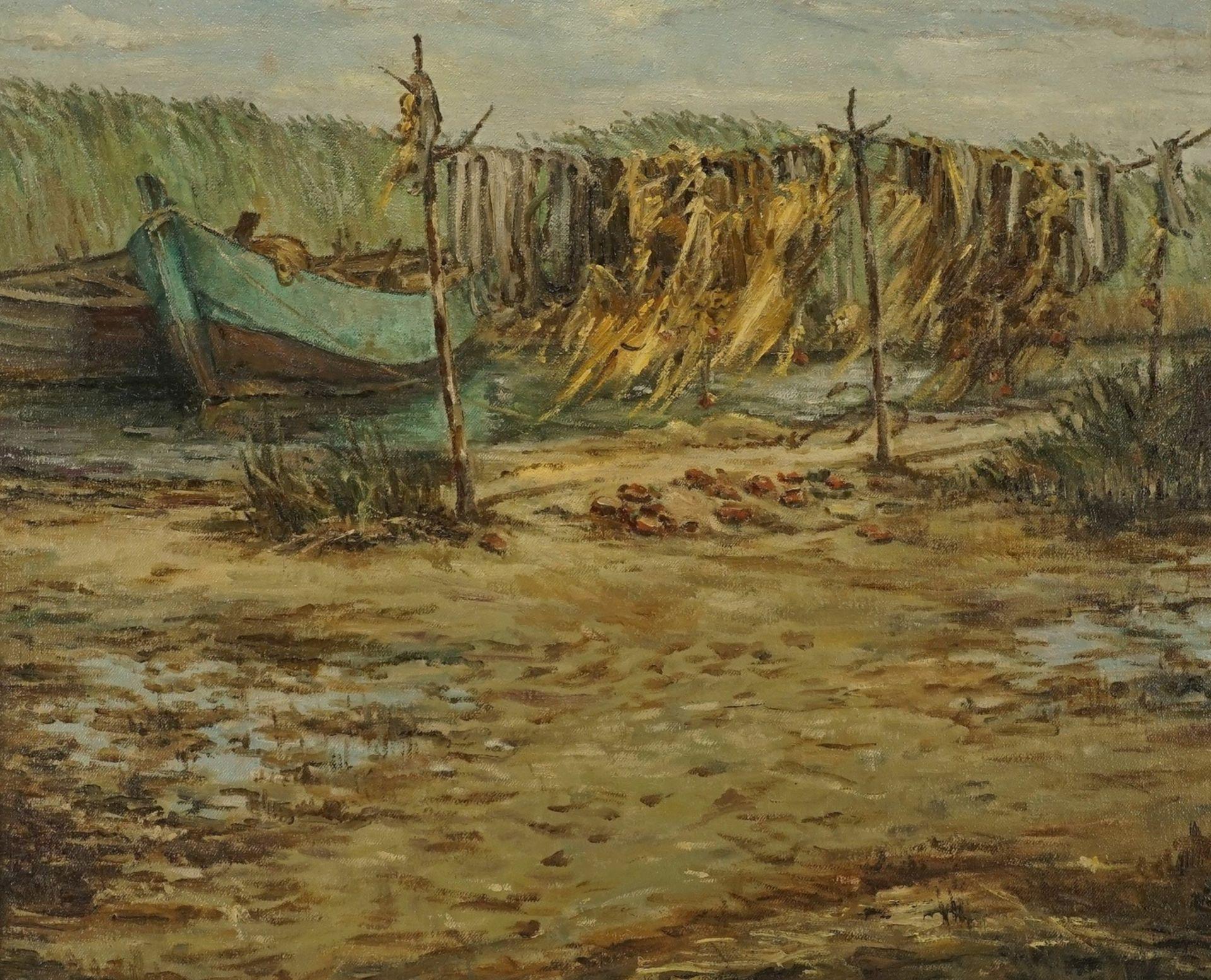 Unbekannter Küstenmaler, Boddenszene mit Fischerbooten und Netzreihen