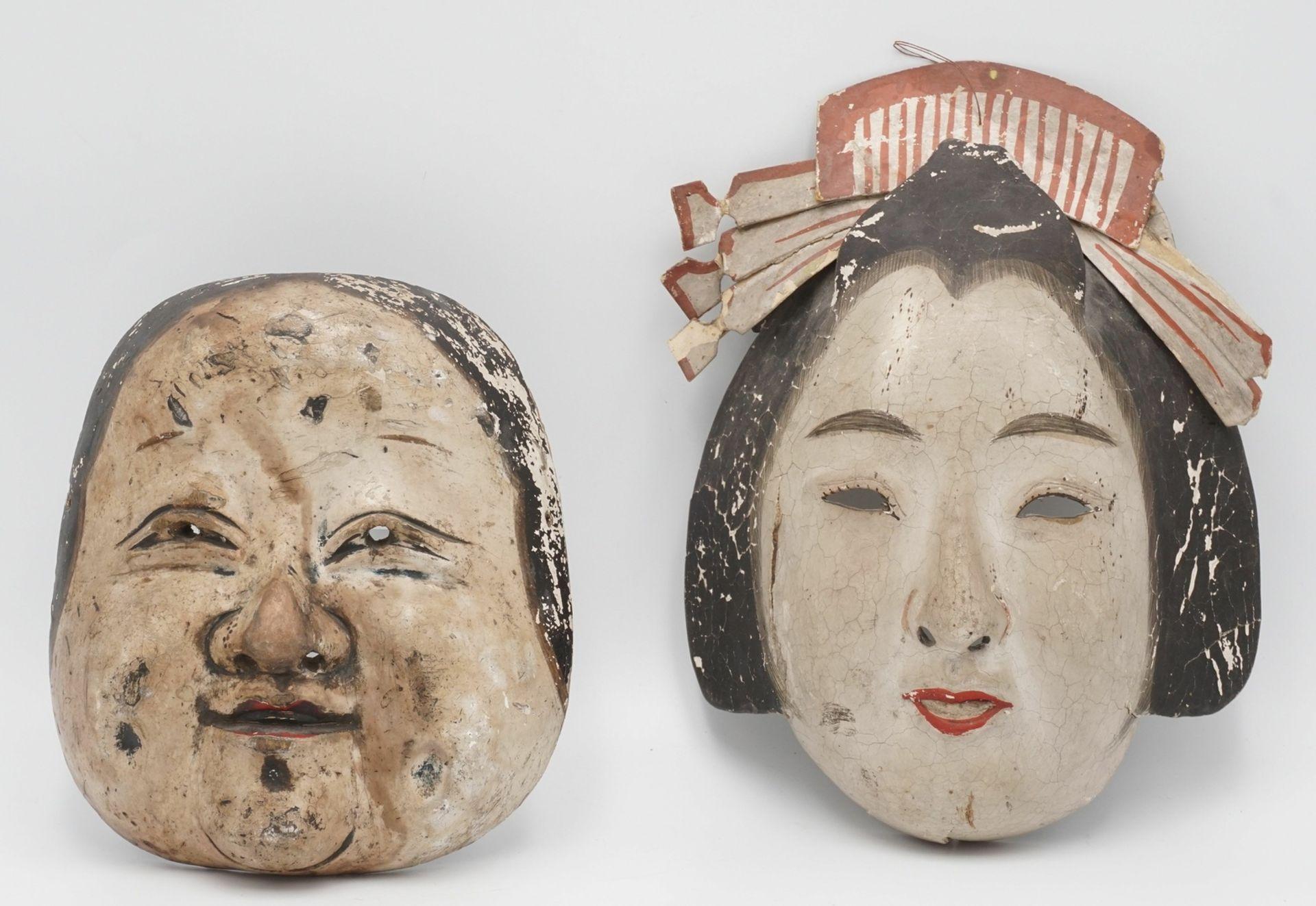Zwei japanische Masken, Japan, um 1900
