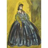 Constantin Guys, Stehende Dame in türkisblauem Kleid vor Gelb