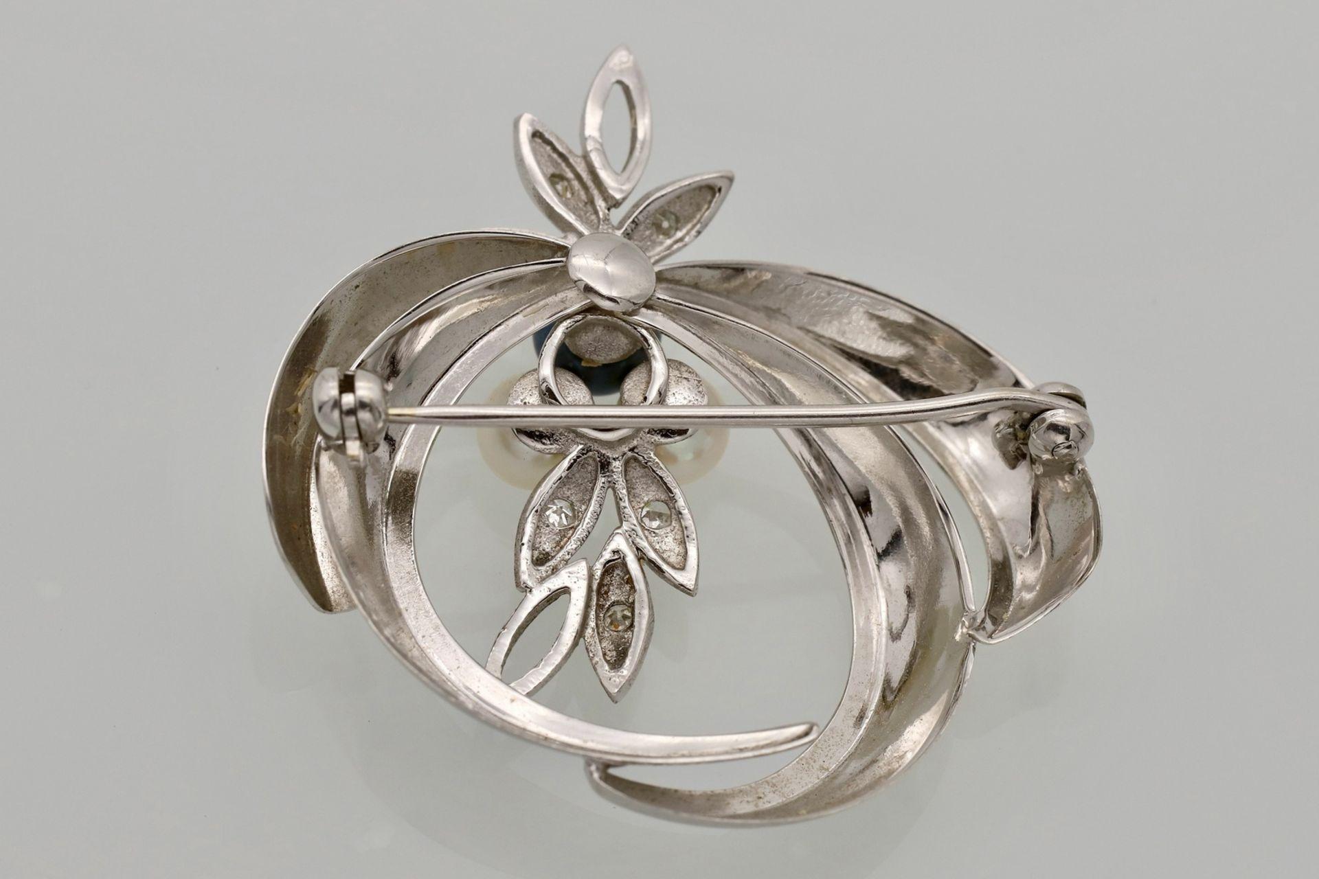 Weißgold Brosche mit Diamanten und Perlen - Bild 2 aus 2