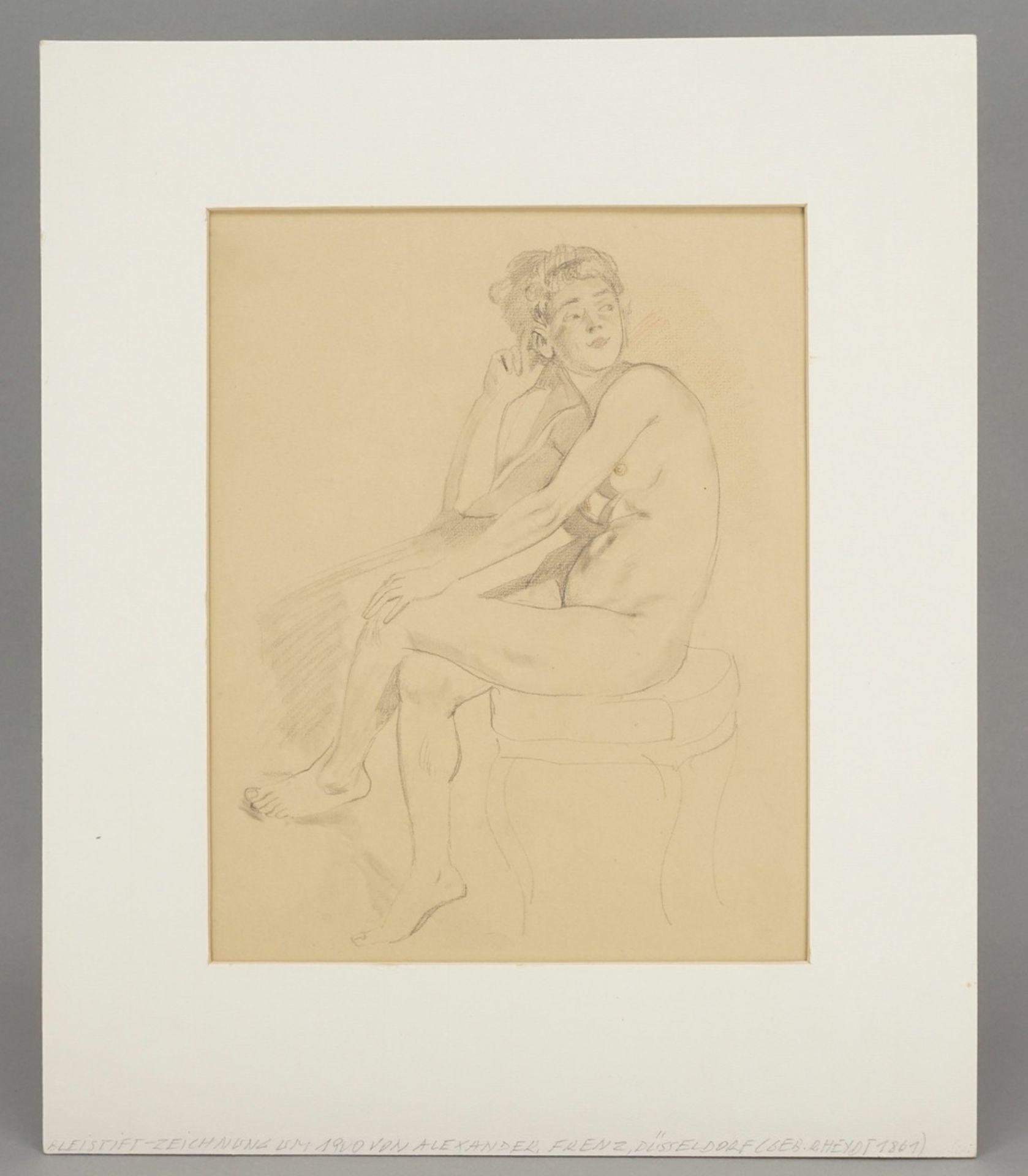 Alexander Frenz, Sitzender weiblicher Akt, die Beine übereinander geschlagen - Bild 2 aus 3