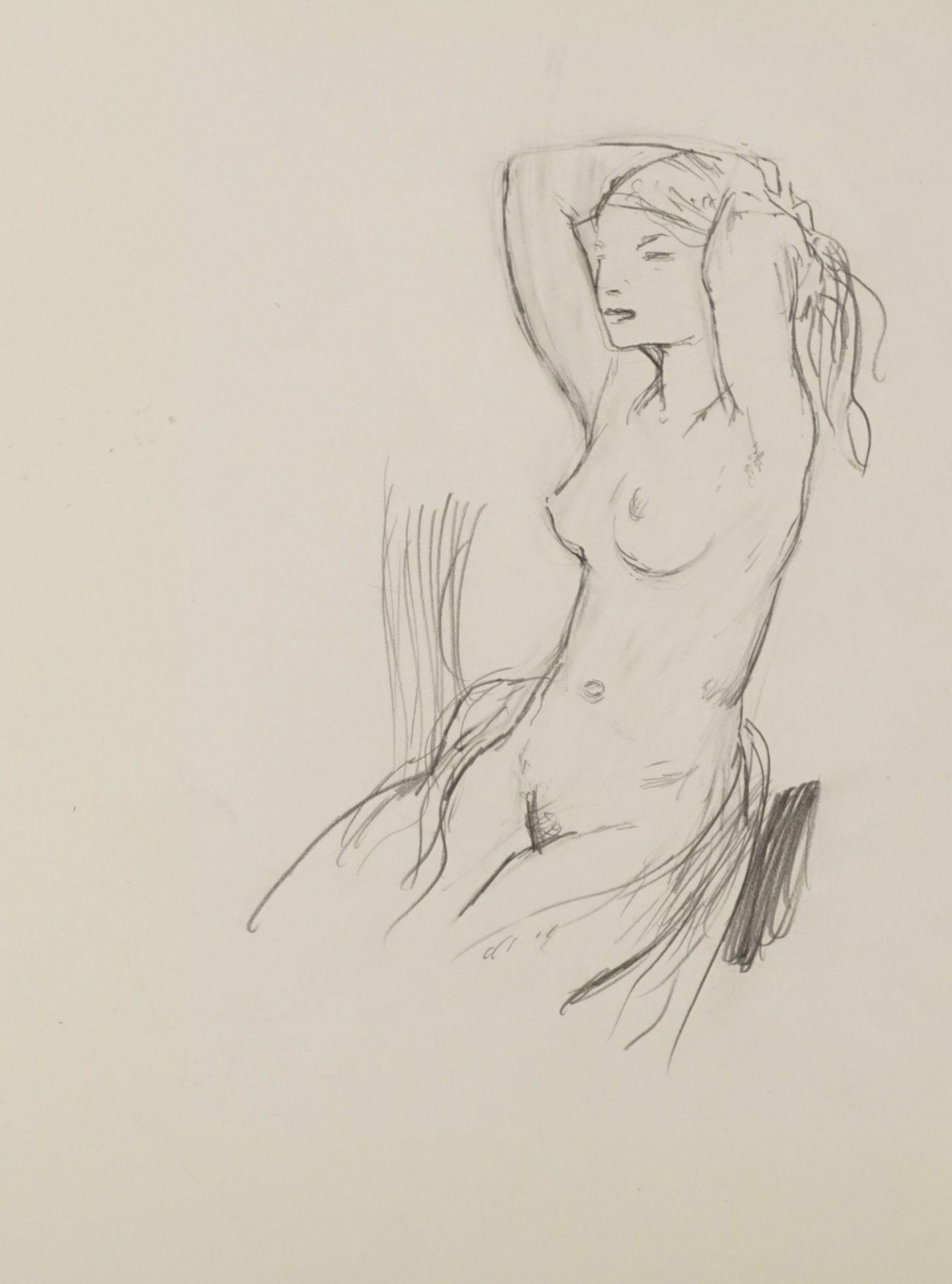 Walter Hempel, Sitzender weiblicher Akt, die Hände im Haar