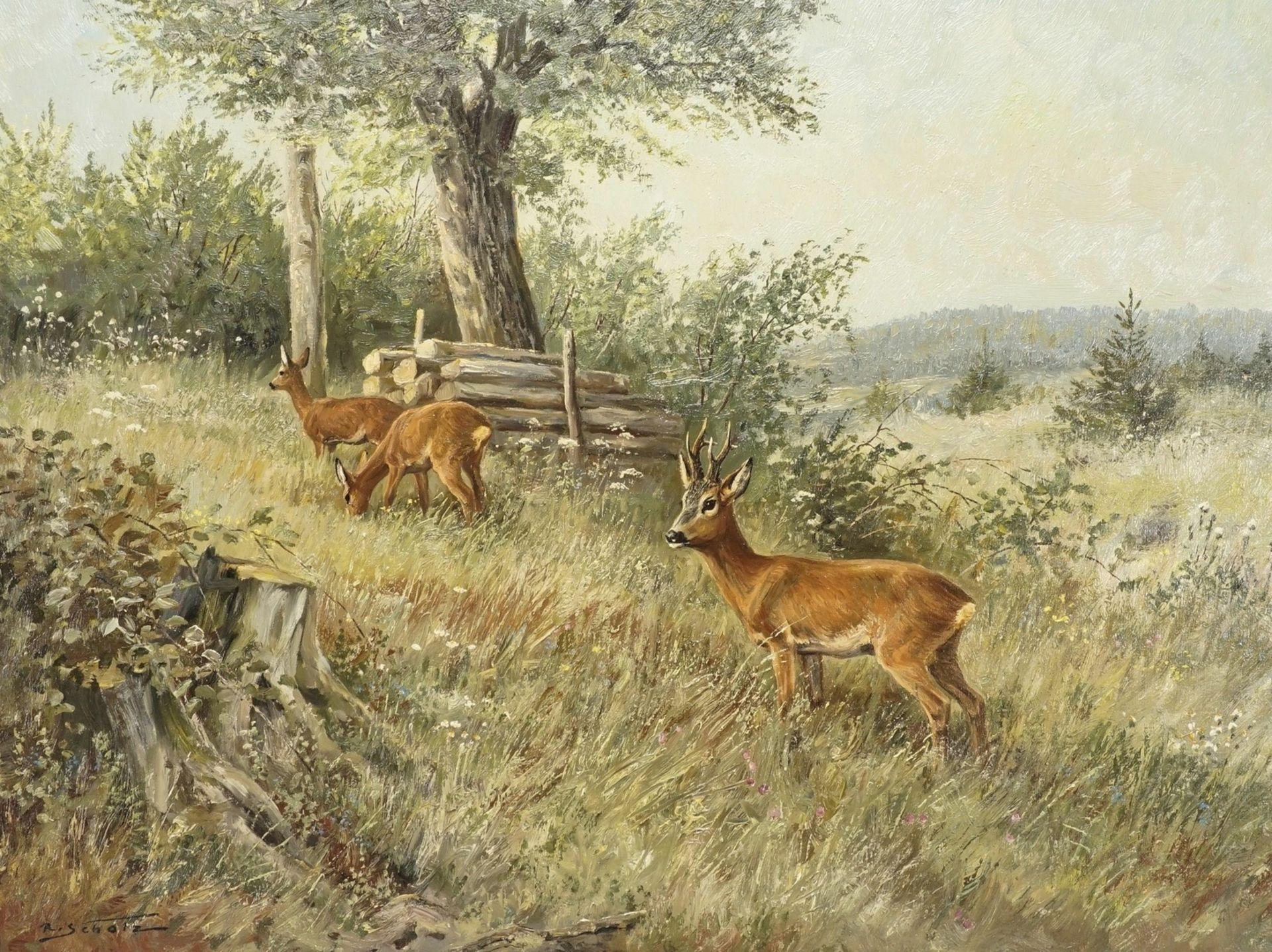 R. Scholz, Sichernder Rehbock mit zwei Ricken