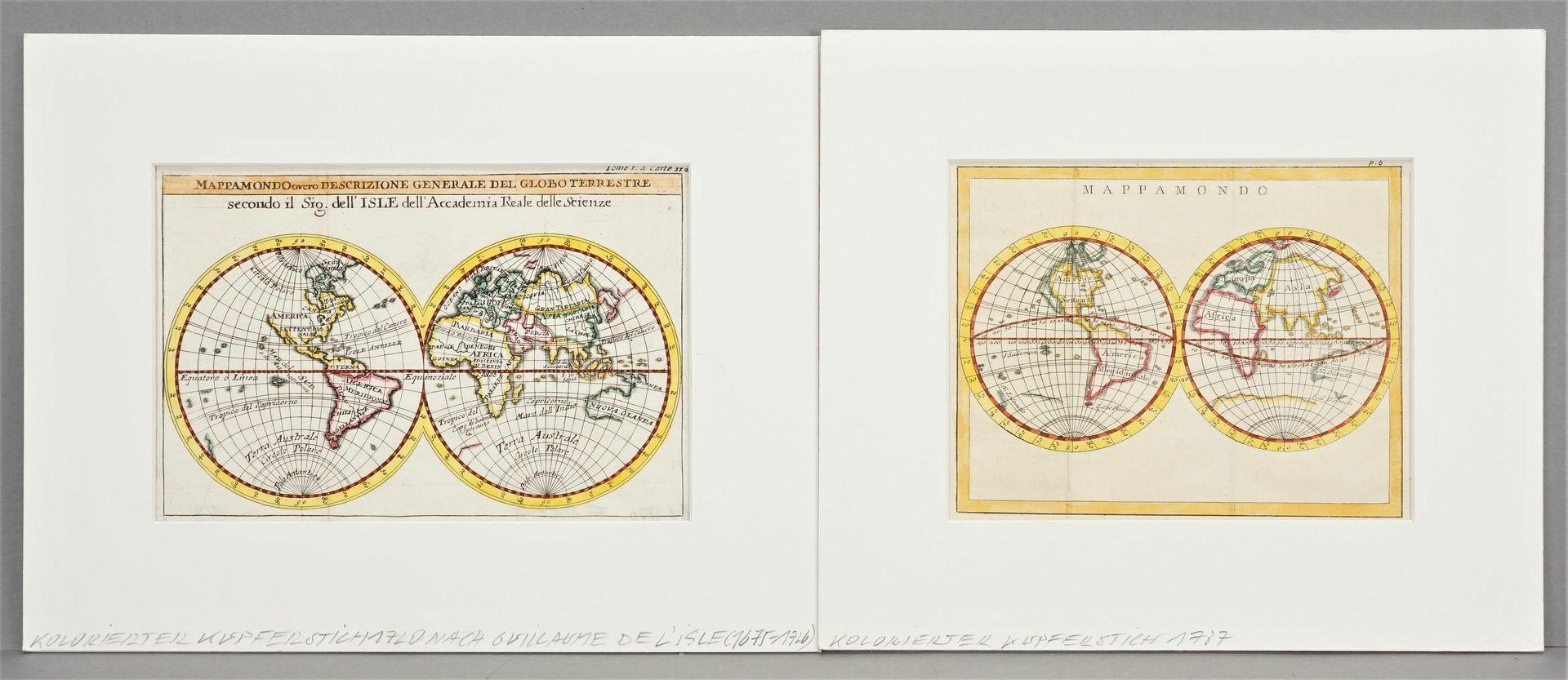 Zwei Weltkarten mit Doppel-Hemisphären