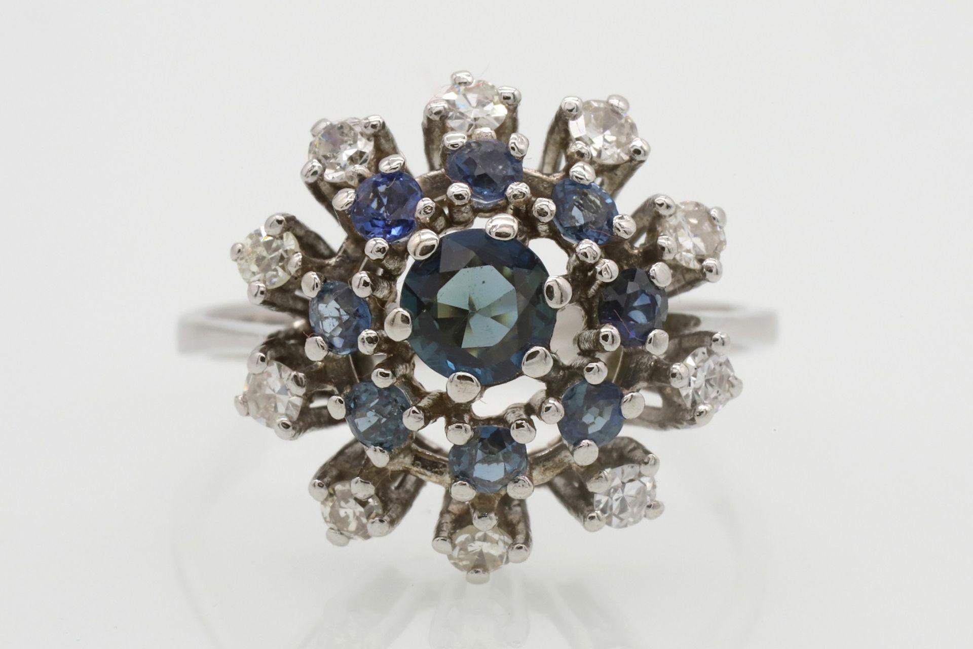 Entourage-Ring besetzt mit Saphir, Topasen und Diamanten - Bild 2 aus 5