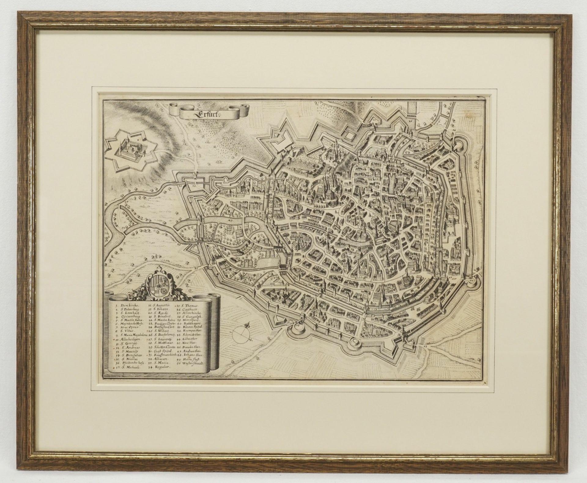 """Matthäus Merian, """"Erfurt"""" (Vogelschau-Ansicht) - Bild 2 aus 2"""