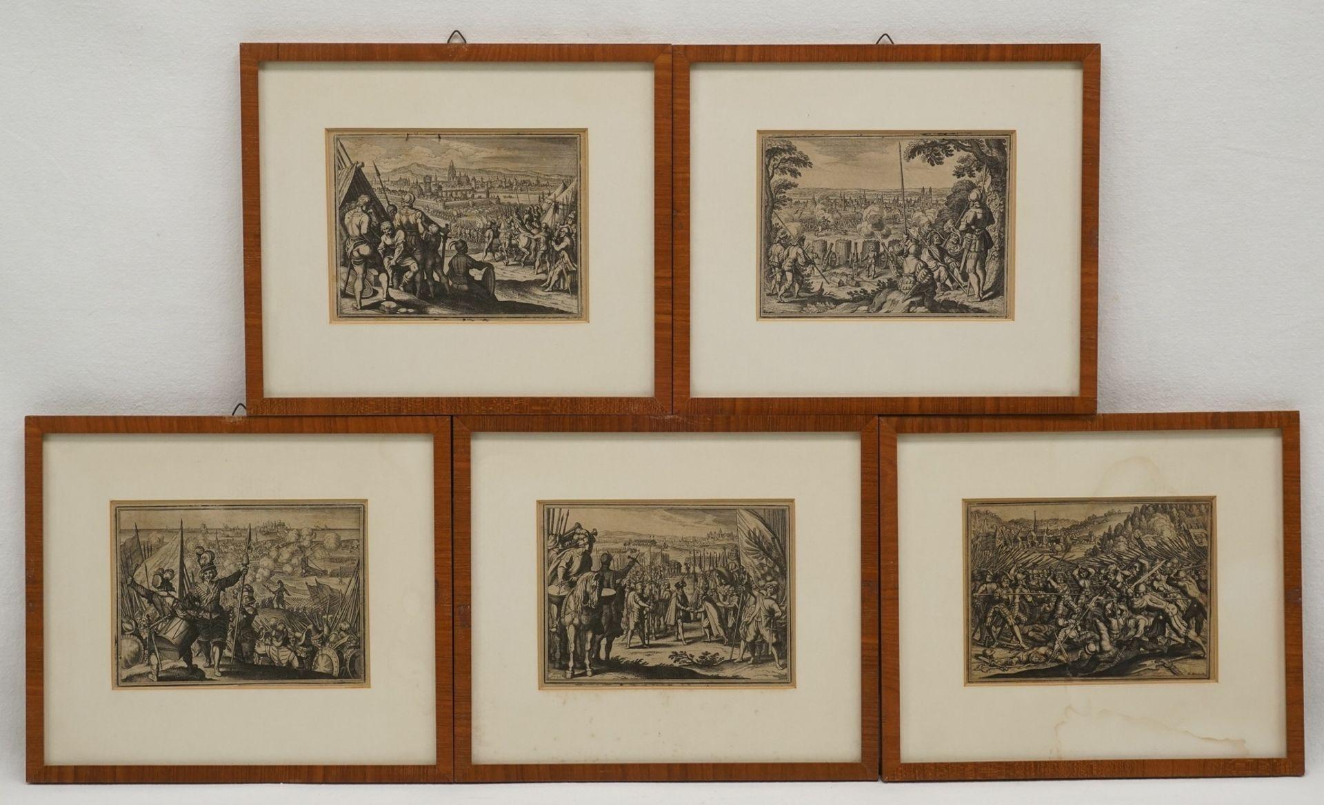 Matthäus Merian, Fünf Kupferstiche mit Schlachtenszenen
