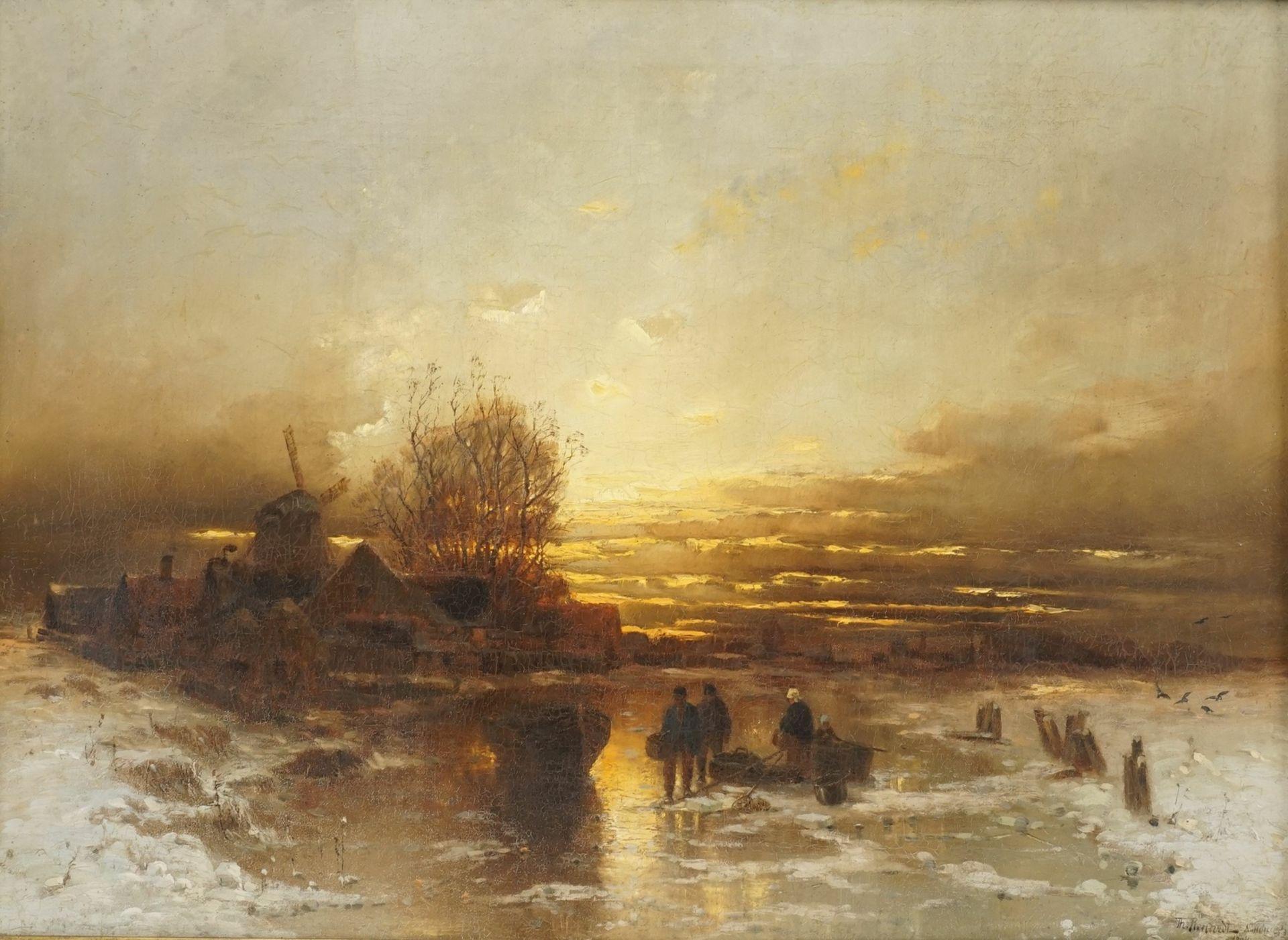 """Désiré Thomassin, """"Eisfischen auf der Gracht"""""""
