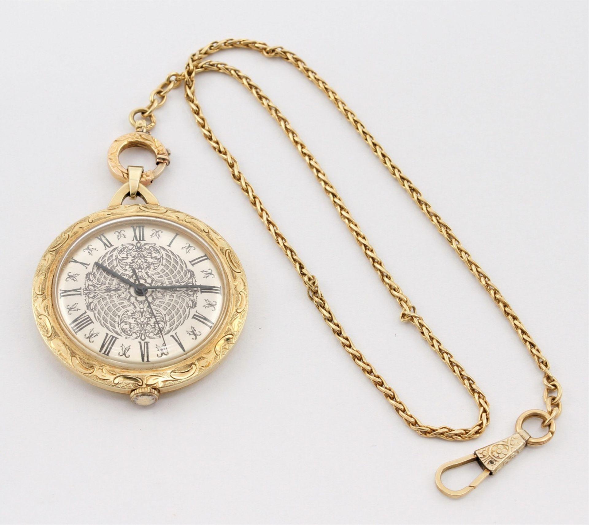 Kleine goldene Anhängeruhr / Damentaschenuhr, 2. Hälfte 20. Jh.
