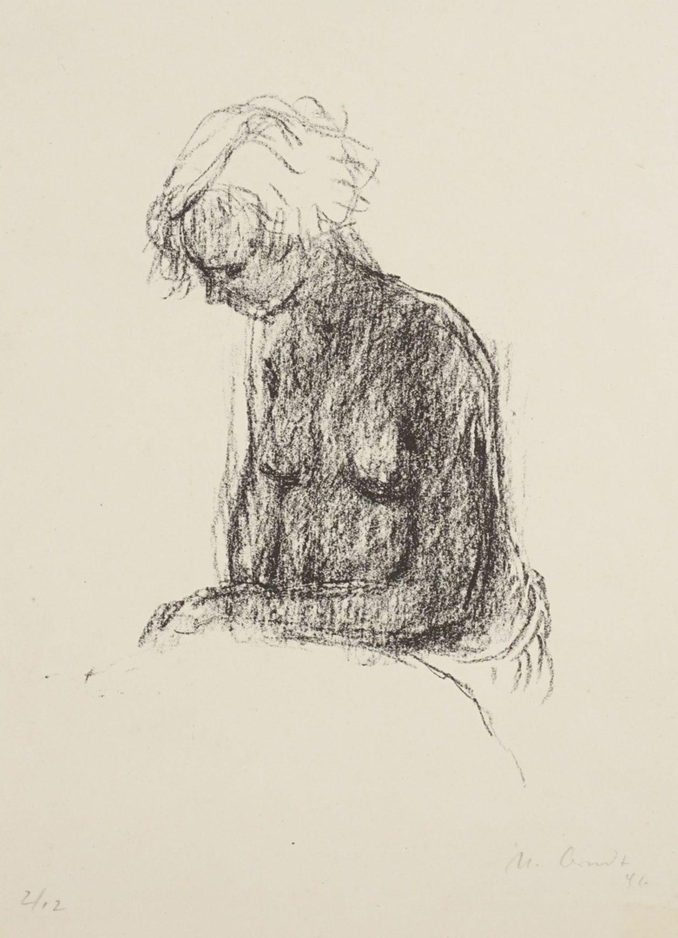 Ursula Arndt, Sitzender Halbakt mit gesenktem Haupt