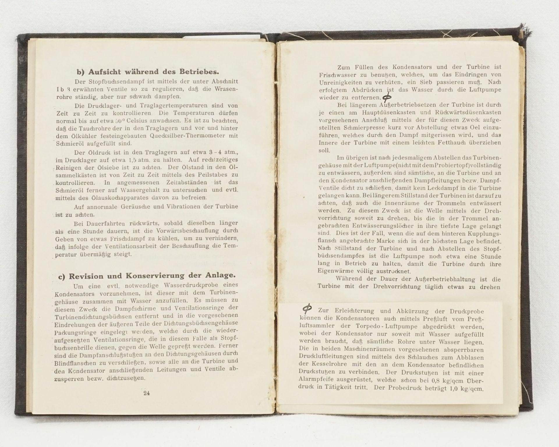 Howaldtswerke Kiel, Beschreibung und Bedienungsvorschrift für die Turbinen–Anlage S. M. ... - Bild 2 aus 4
