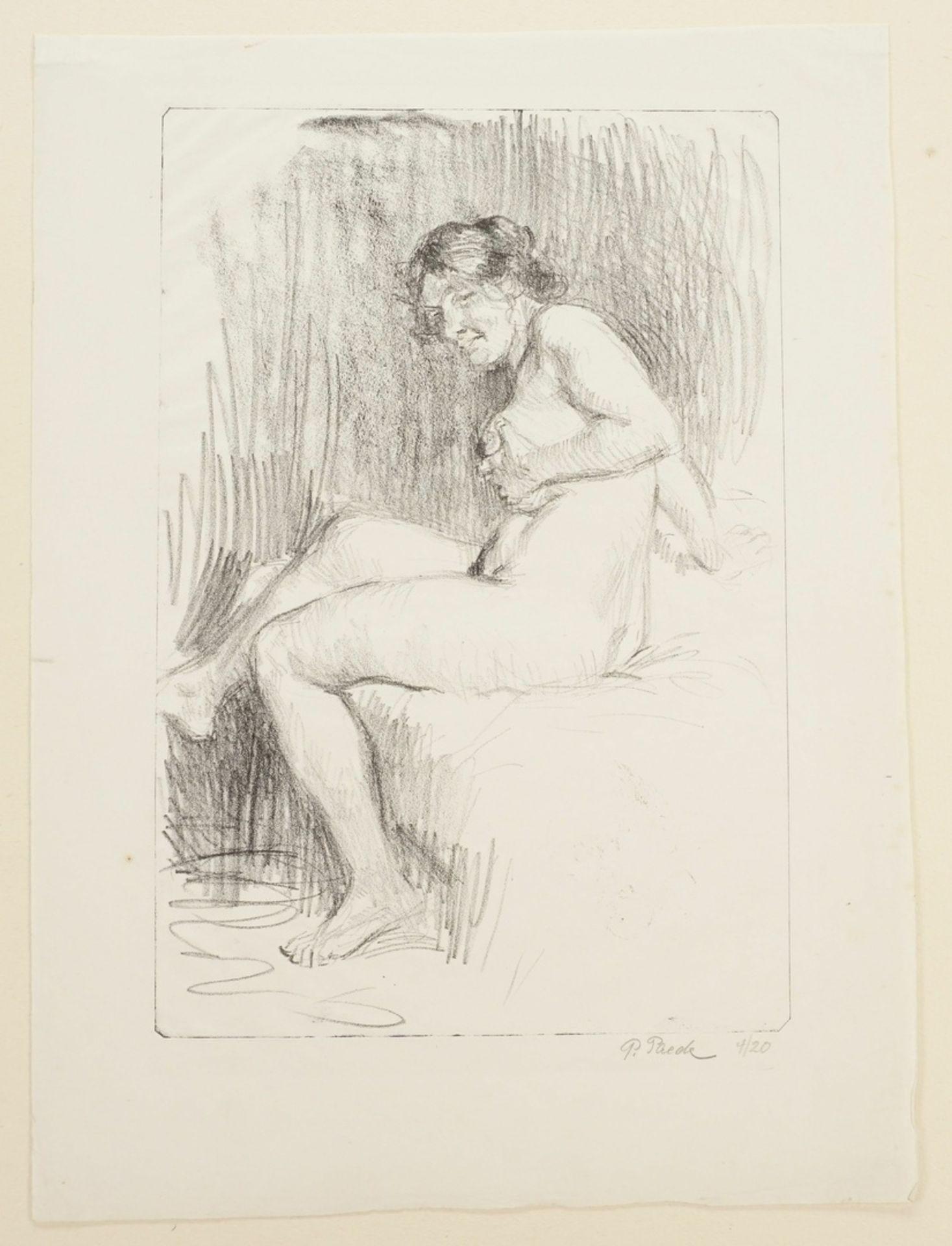 Paul Paede, Sitzender weiblicher Akt, die linke Hand an der Brust - Bild 3 aus 4