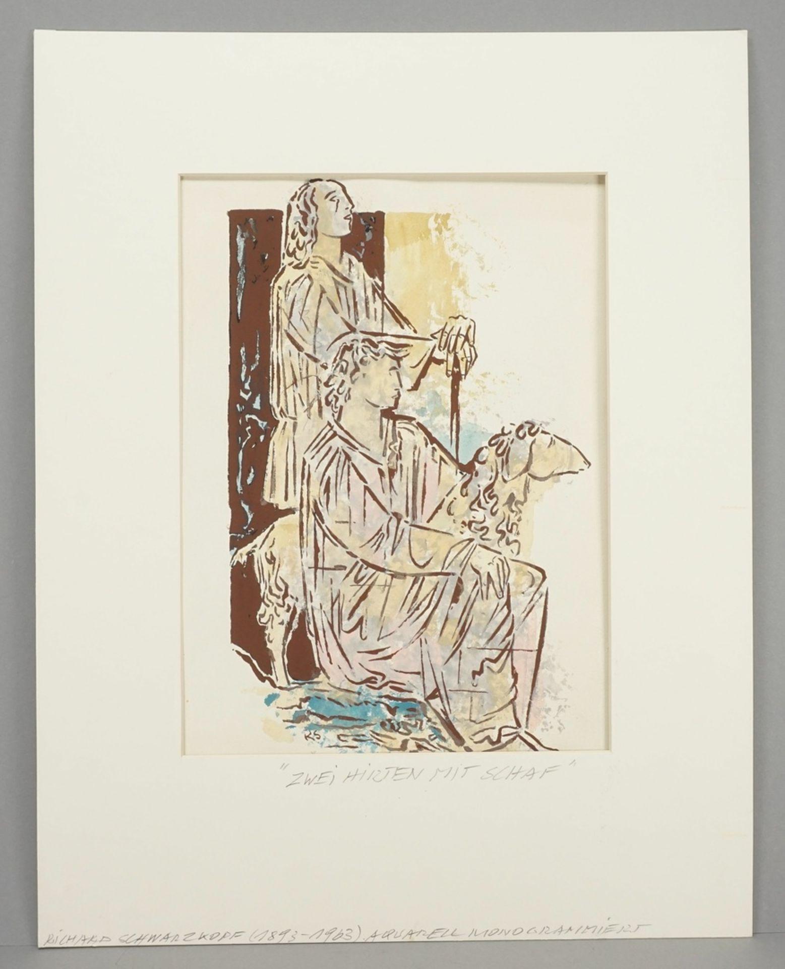 Richard Schwarzkopf, Zwei Hirten mit Schaf - Bild 2 aus 5