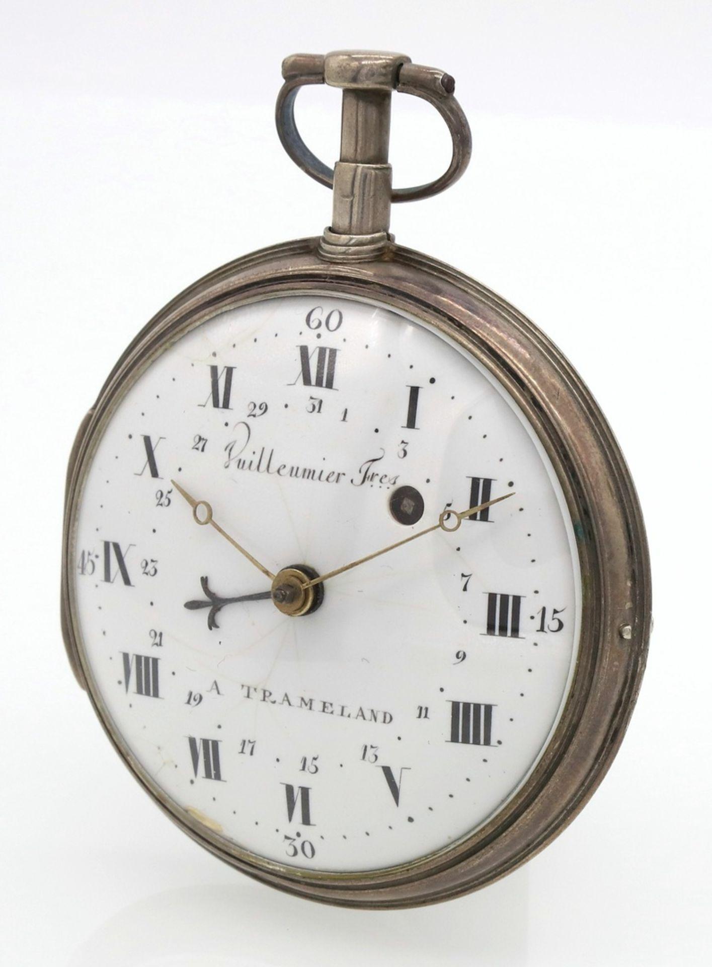 Vuilleumier Fres silberne Spindeltaschenuhr mit Datumsanzeige, um 1830 - Bild 2 aus 5