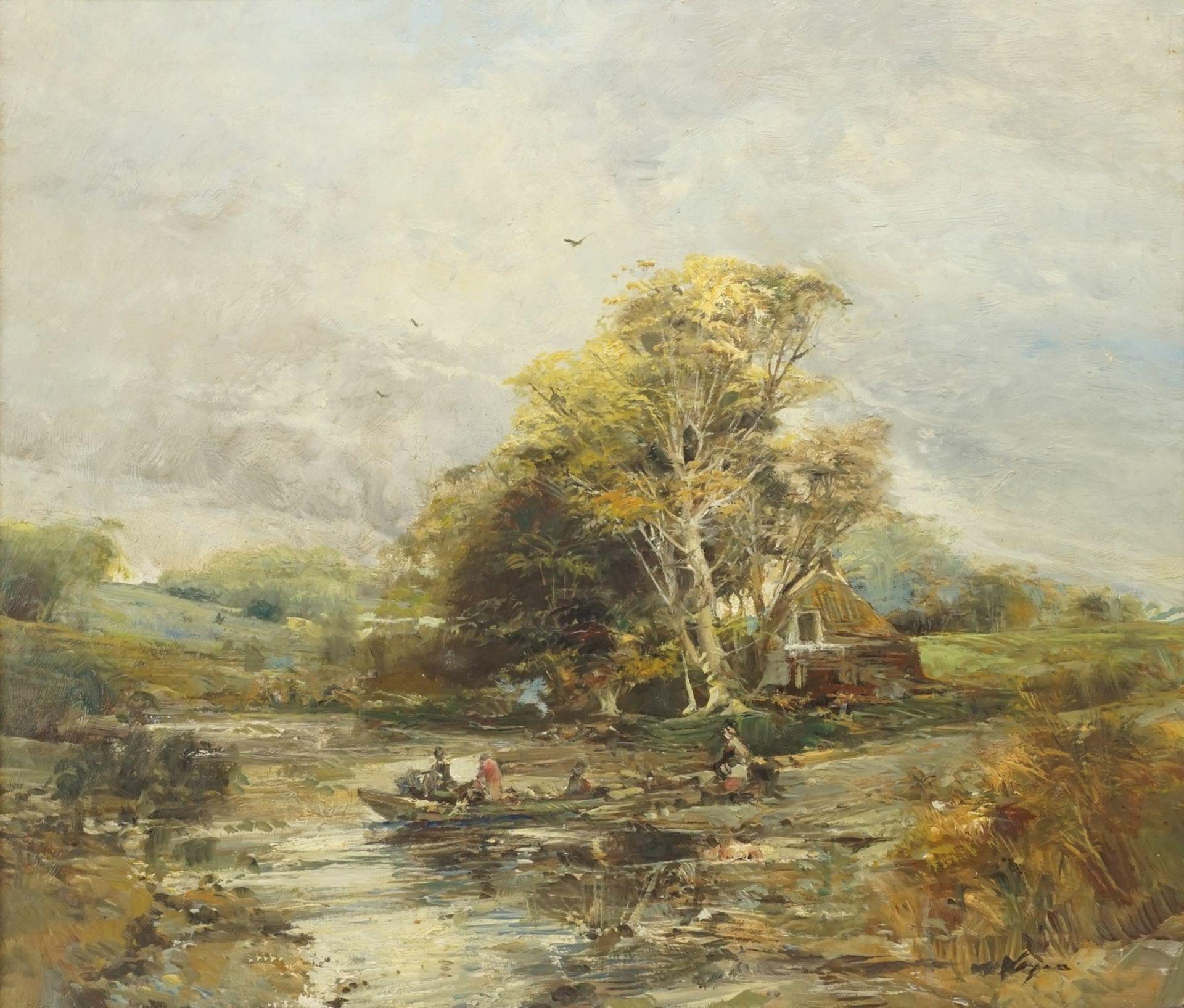 Unbekannter Künstler, Abendstimmung am Fluss