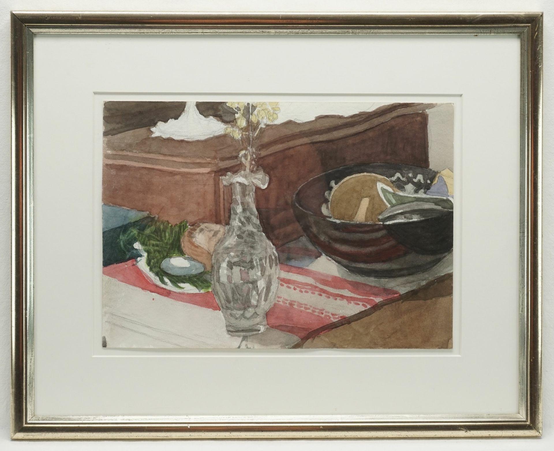 Franz Werneke, Wohnzimmerstillleben mit Glasvase - Bild 2 aus 3