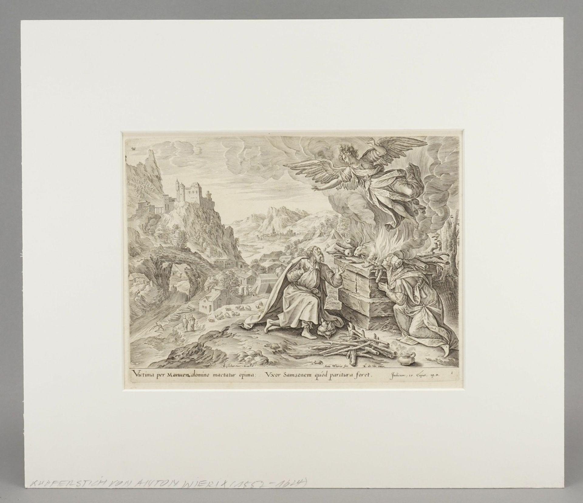 """Anton III Wierix, """"Victima per Manuen, domino mactatur opima..."""" (Der Engel entfernt sich von ... - Bild 2 aus 3"""