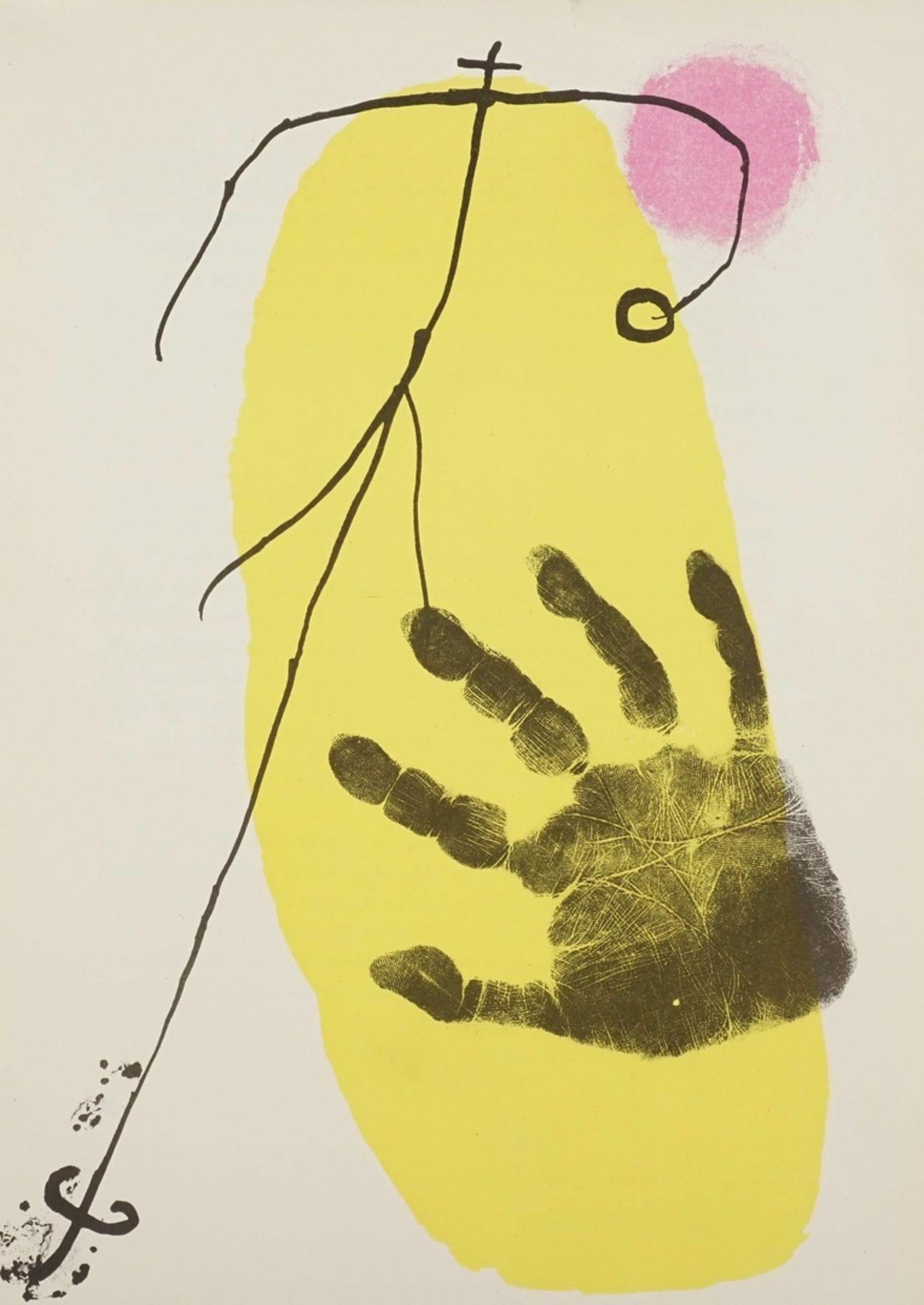 Joan Miró, Hand vor Gelb (aus: Derrière le Miroir)