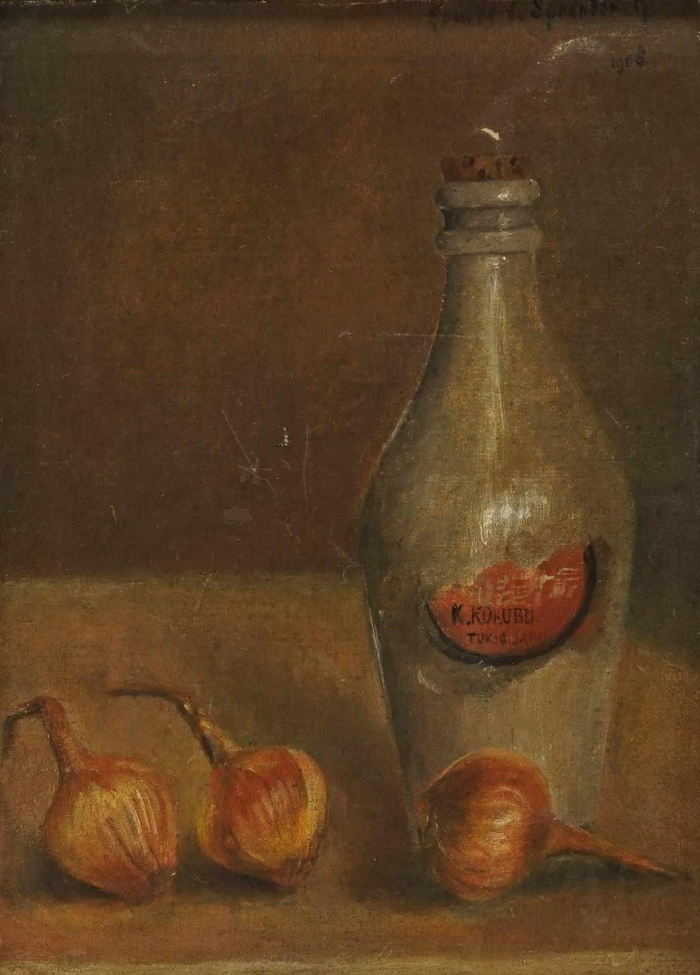 Inspiriert durch van Spaendonck, Stillleben mit Zwiebeln und Flasche