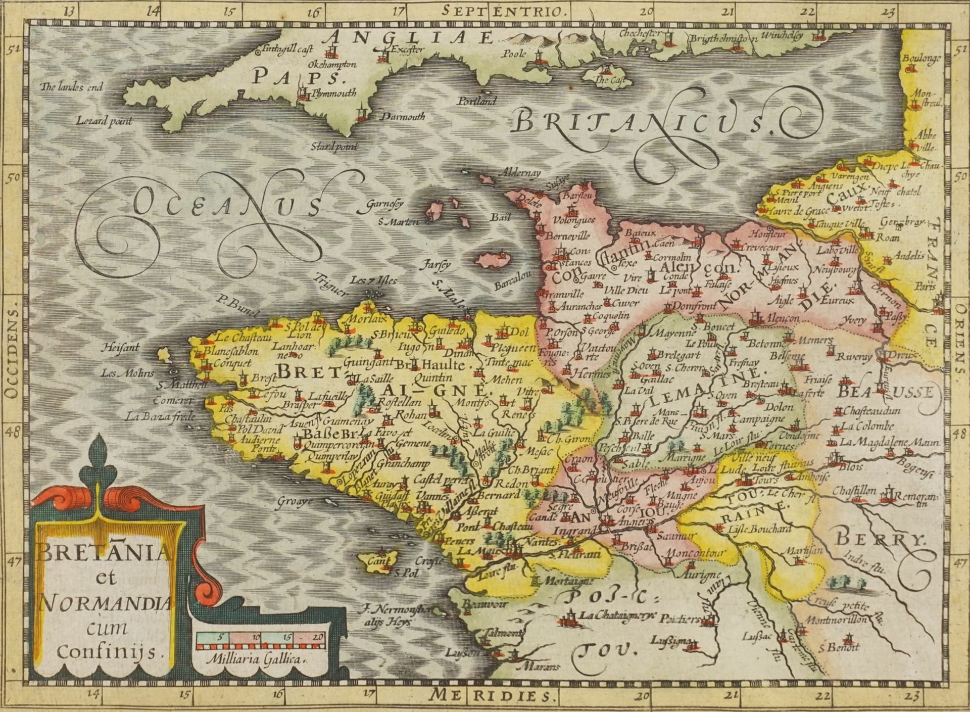 """Gerhard Mercator, """"Bretania et Normandia cum confinijs"""" (Landkarte der Bretagne und Normandie)"""