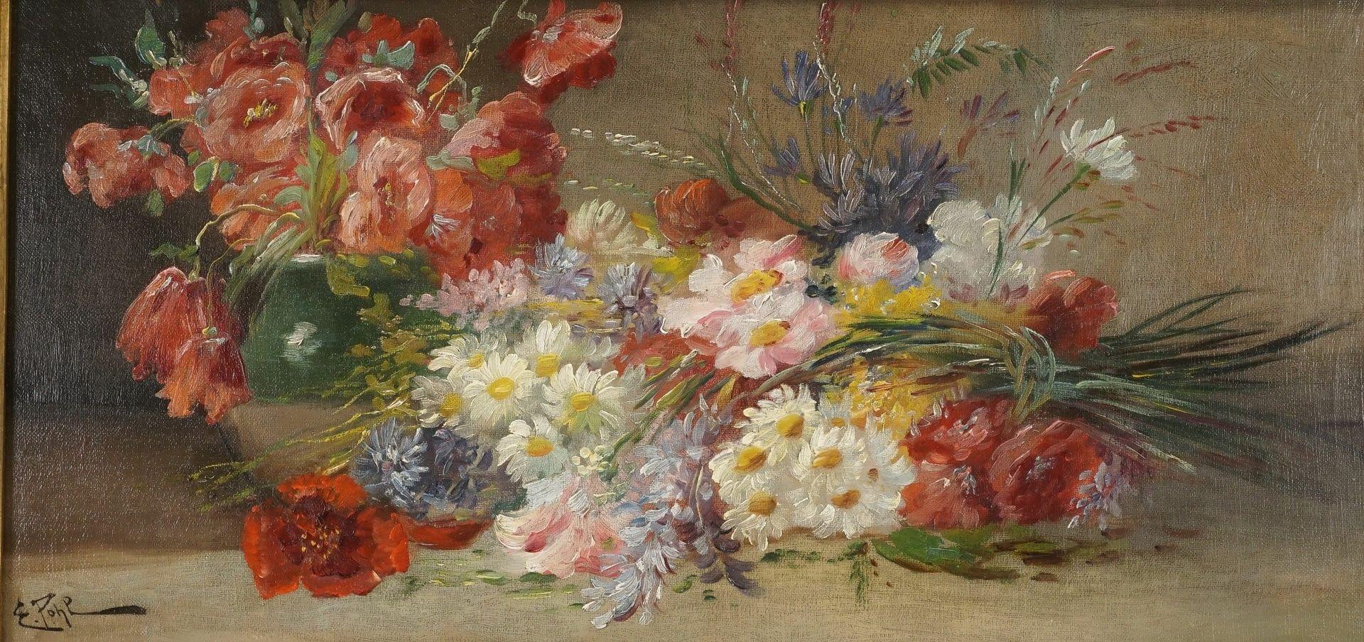 E. Pohl, Reiches Blumenstillleben mit Feldblumen und Klatschmohn - Bild 2 aus 5