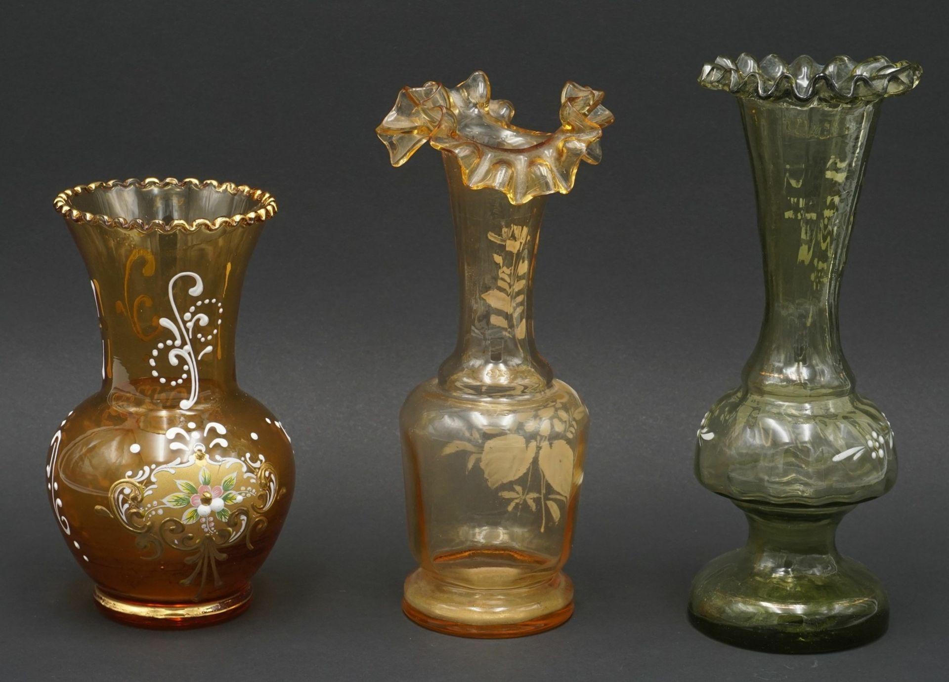 Drei Vasen, um 1900 - Bild 2 aus 2