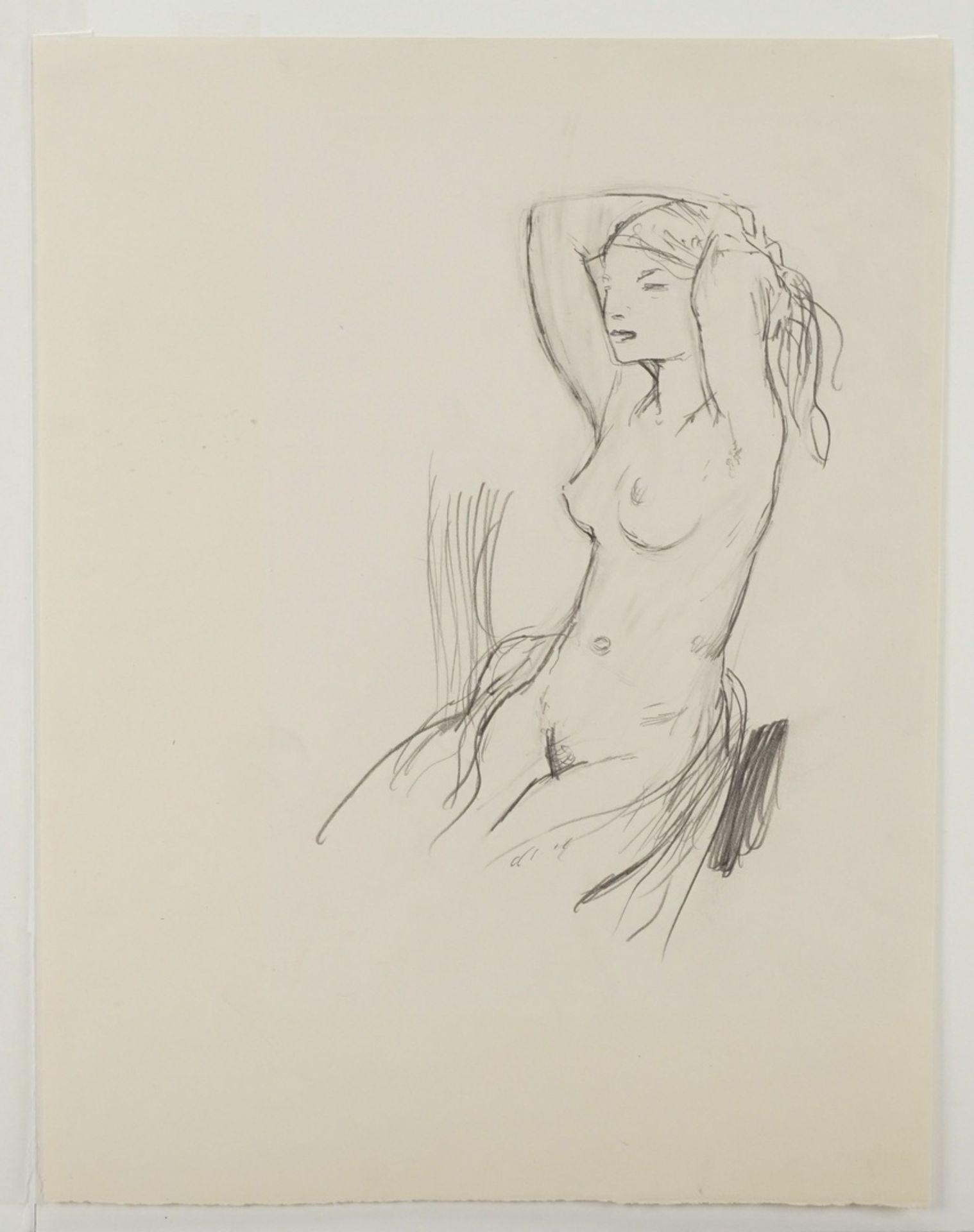 Walter Hempel, Sitzender weiblicher Akt, die Hände im Haar - Bild 3 aus 3