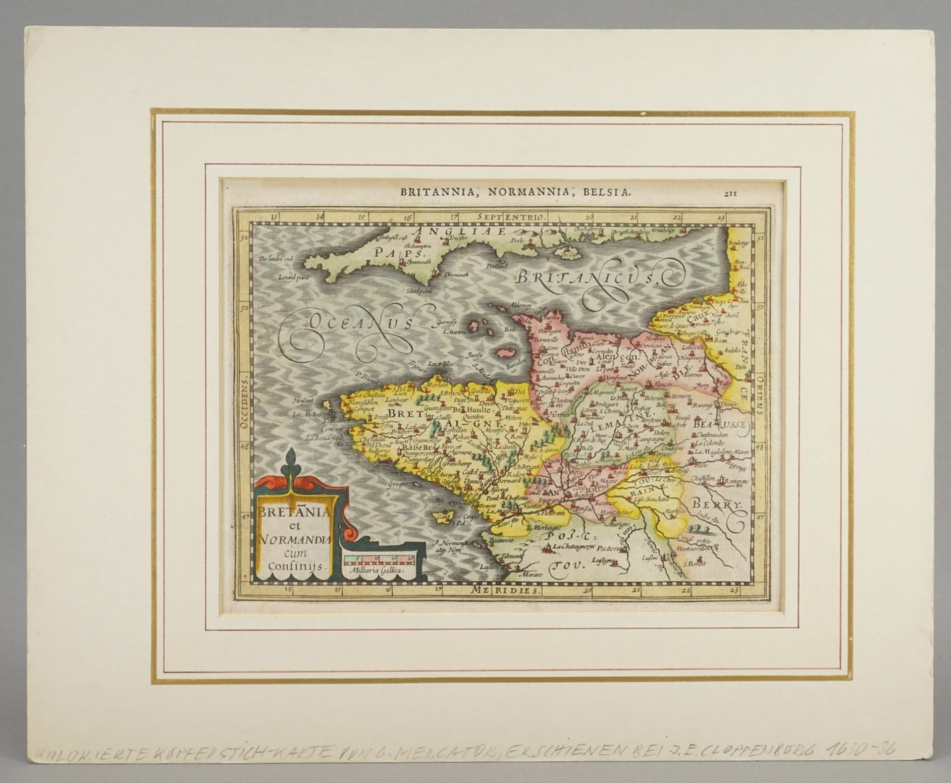 """Gerhard Mercator, """"Bretania et Normandia cum confinijs"""" (Landkarte der Bretagne und Normandie) - Bild 2 aus 4"""