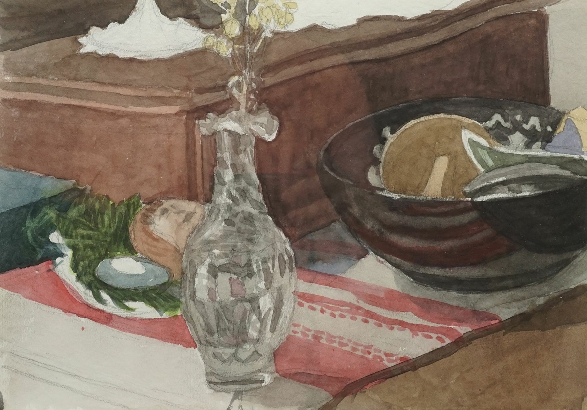 Franz Werneke, Wohnzimmerstillleben mit Glasvase
