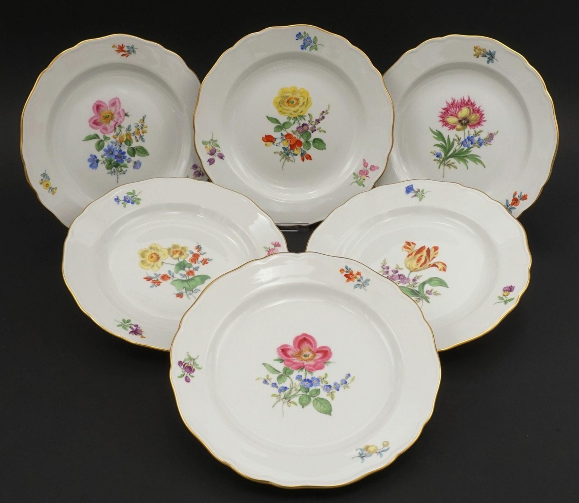 Sechs Meissen Teller mit Bunter Blume - Bild 2 aus 3