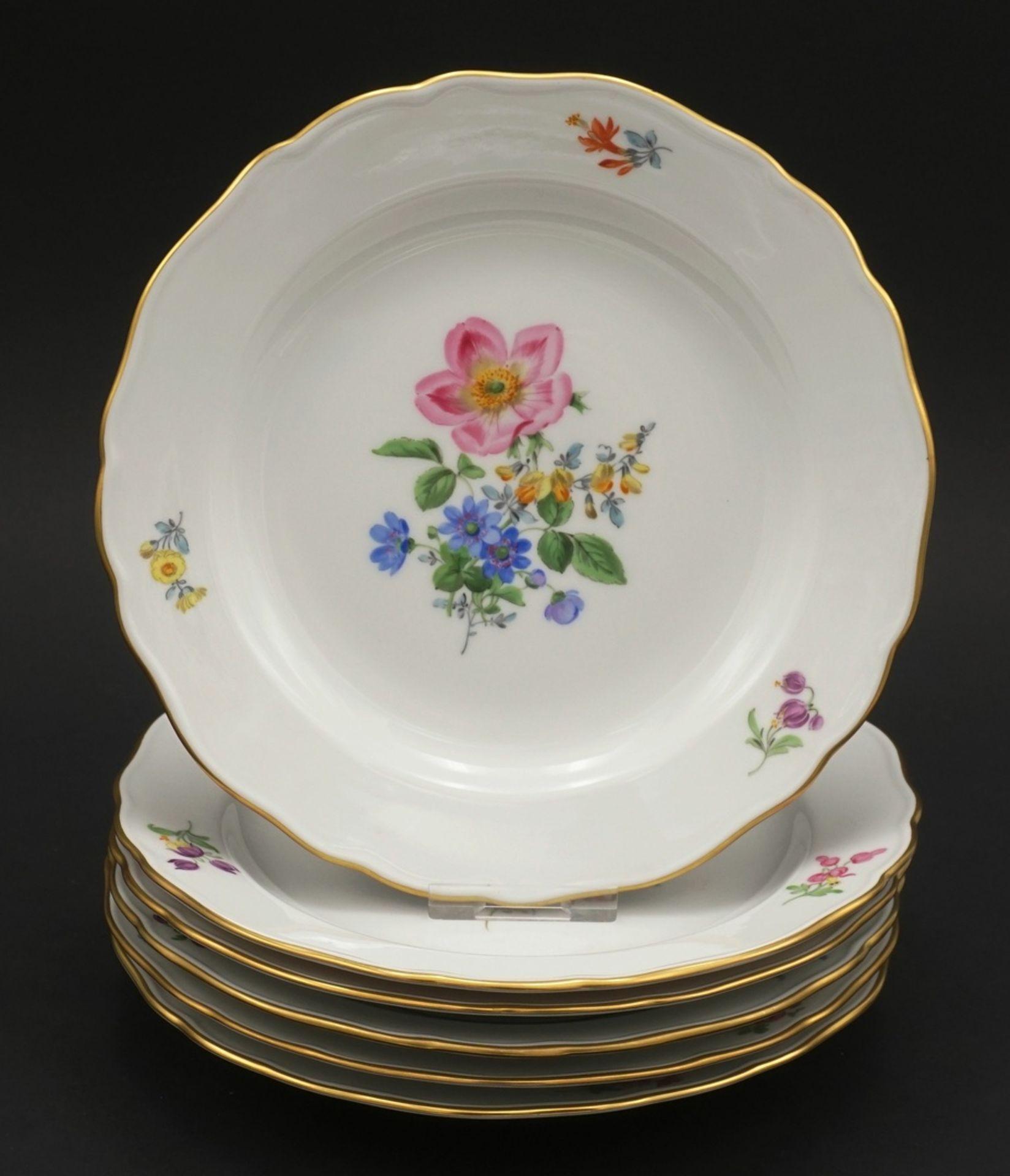 Sechs Meissen Teller mit Bunter Blume