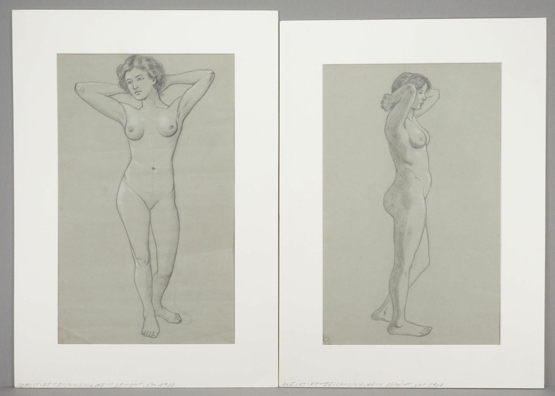 Unbekannter akademischer Künstler, Zwei weibliche Akt-Darstellungen